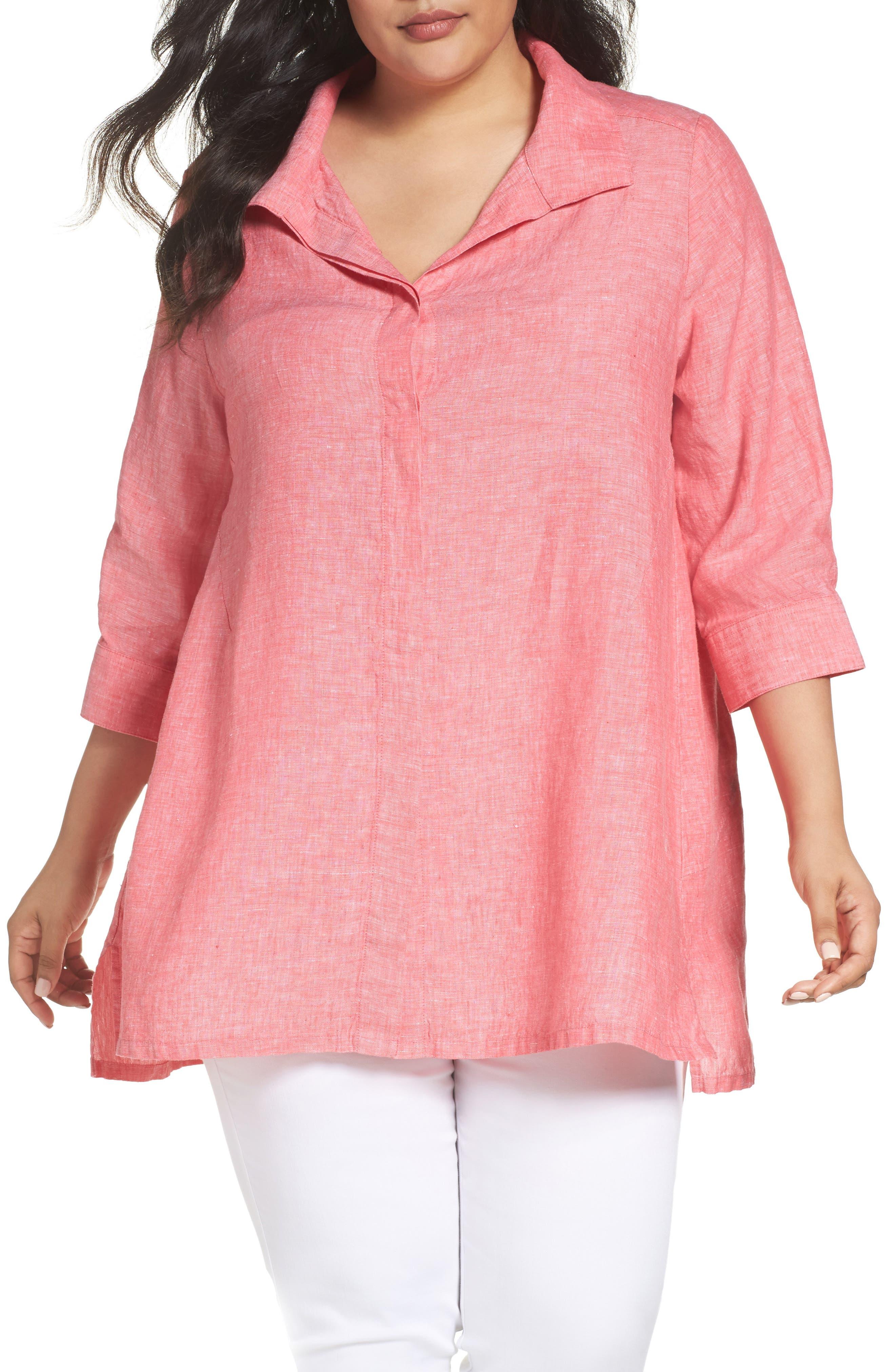 Main Image - Foxcroft Linen Chambray Tunic (Plus Size)