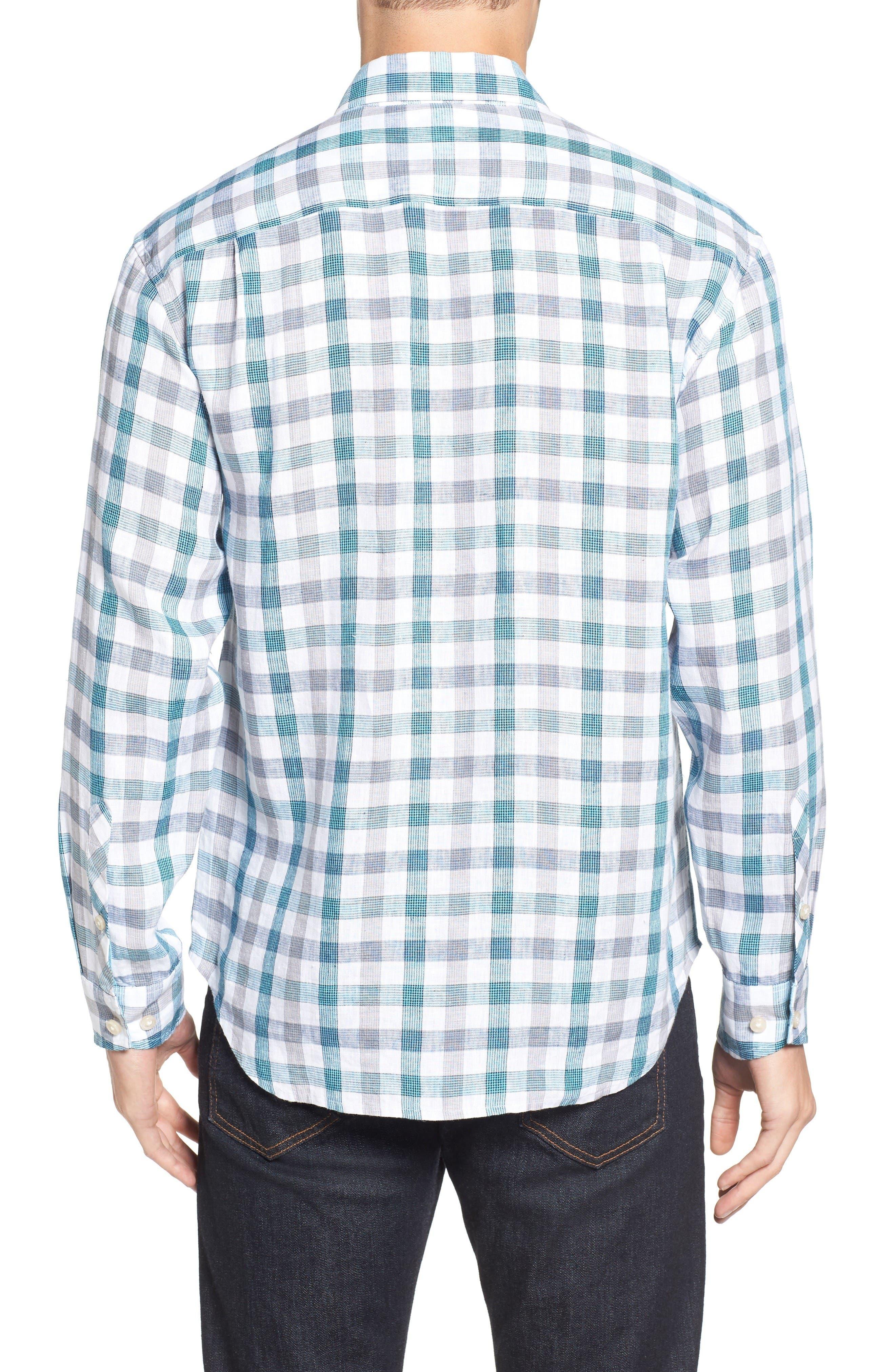 Thira Check Linen Sport Shirt,                             Alternate thumbnail 2, color,                             Download Blue