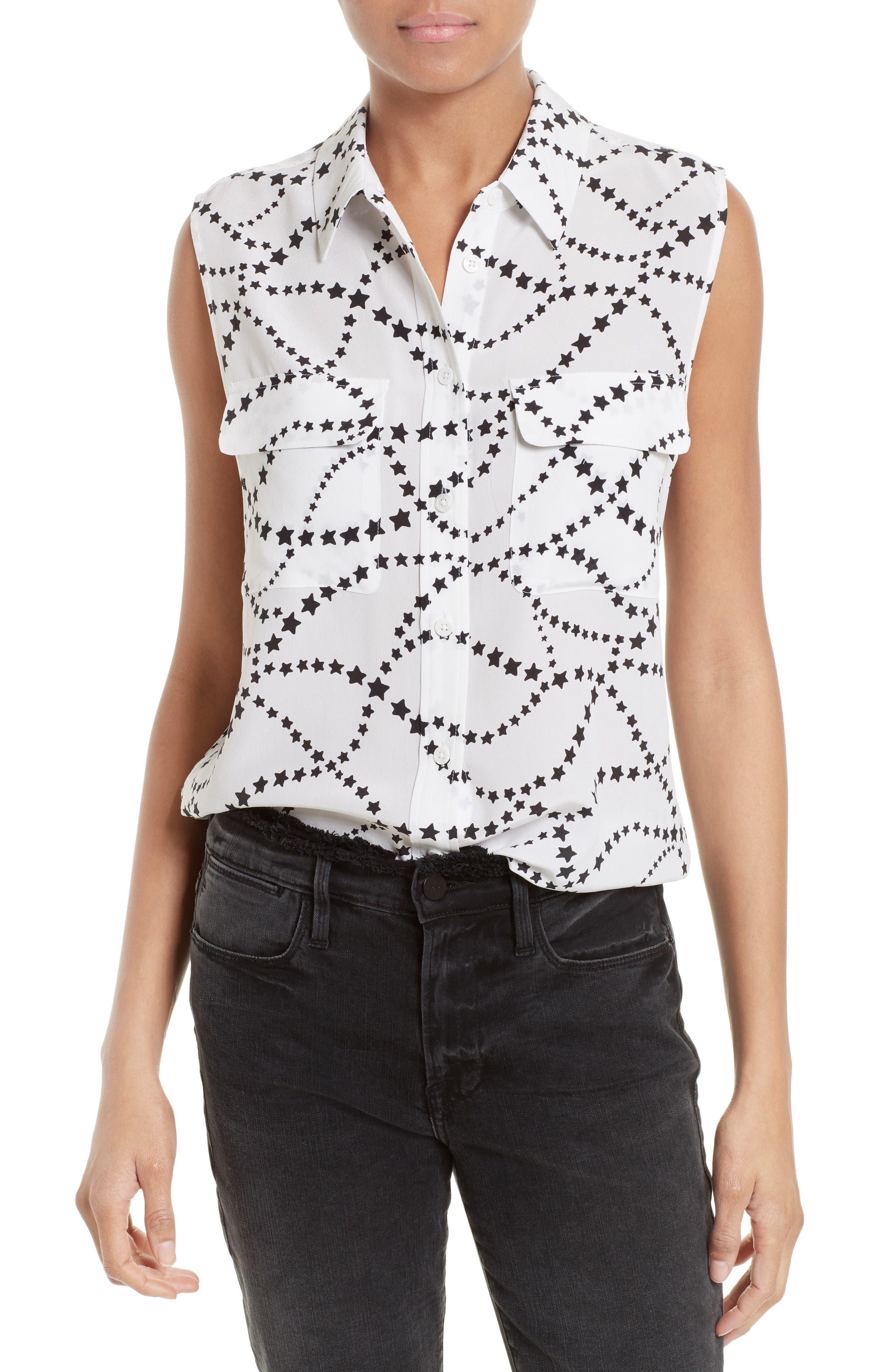 Slim Signature Print Silk Shirt,                             Main thumbnail 1, color,                             Bright White/ True Black