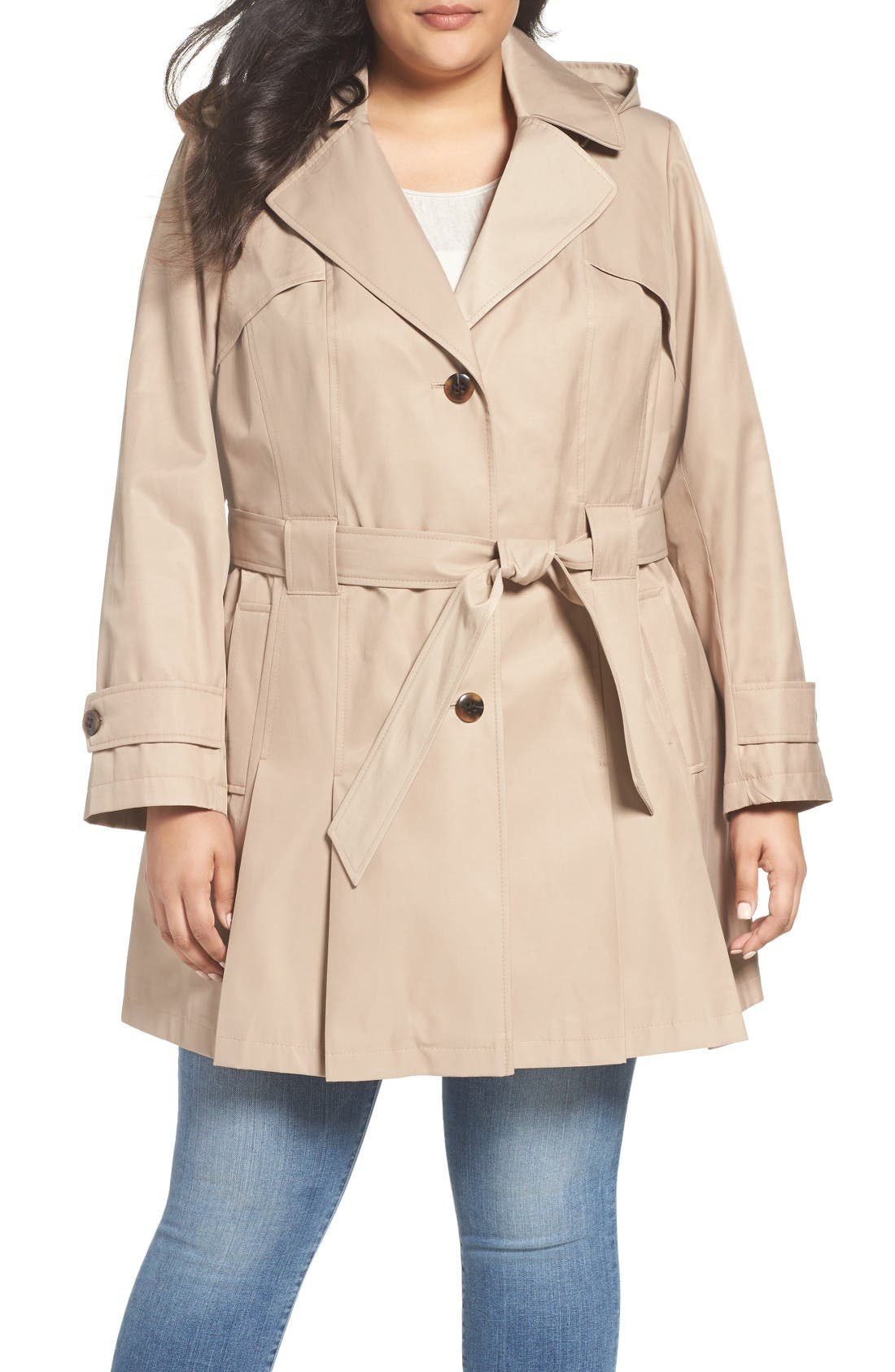 Alternate Image 1 Selected - Via Spiga 'Scarpa' Single Breasted Trench Coat (Plus Size)