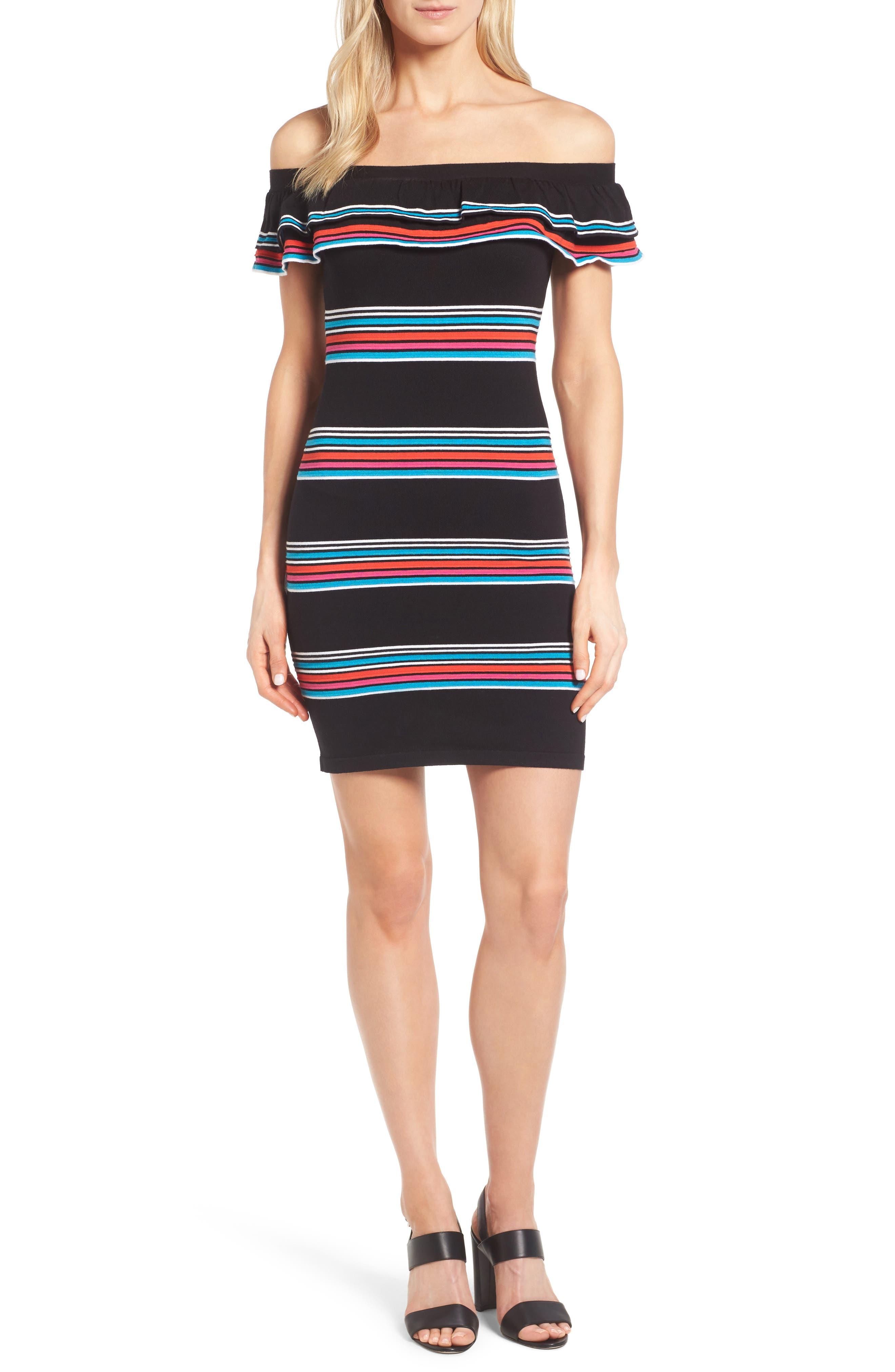 Stripe Sweater Dress,                         Main,                         color, Rich Black