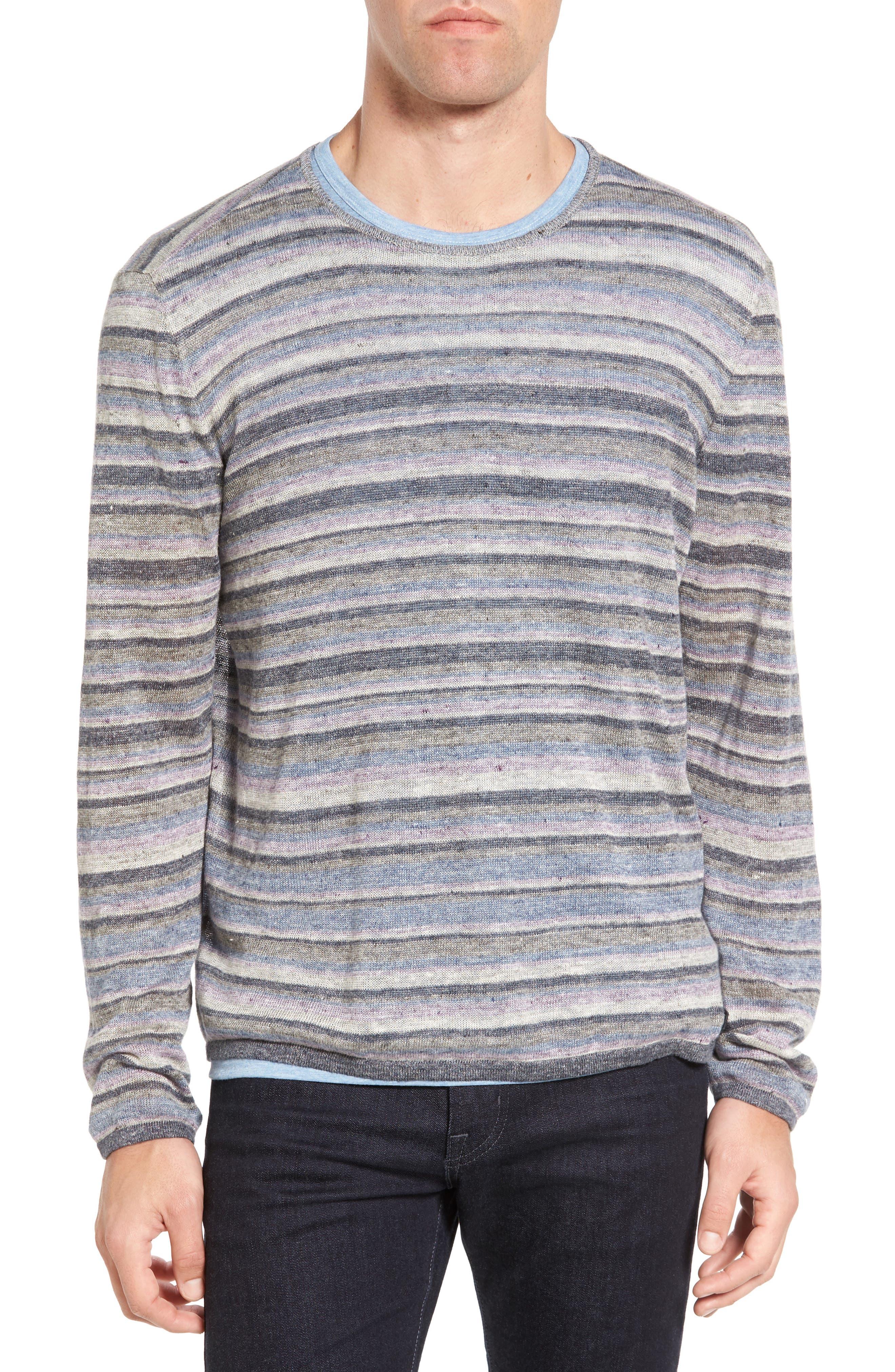 John Varvatos Star USA Multi Stripe Cotton Sweater