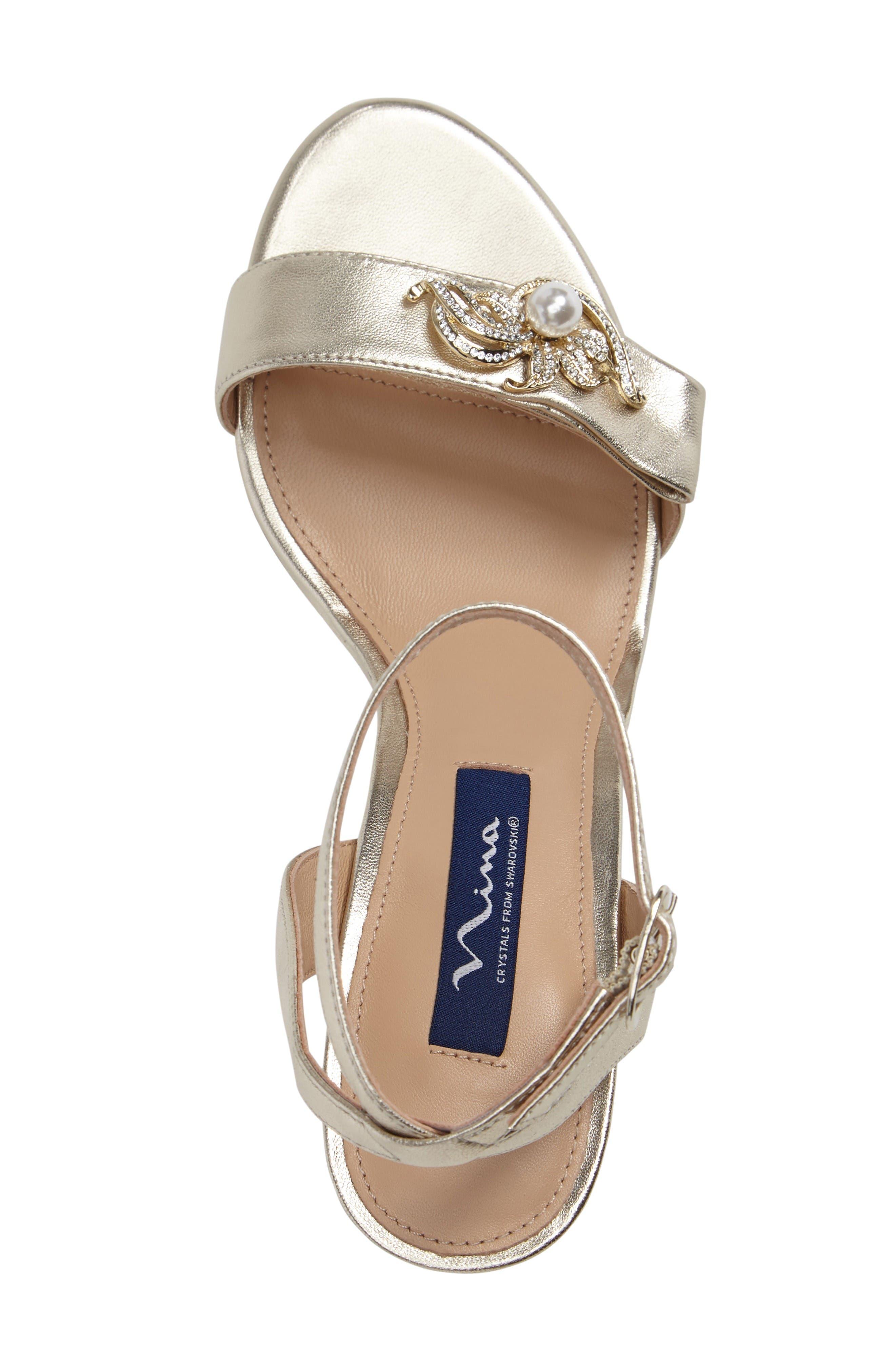 Kabira Swarovski Embellished Strappy Sandal,                             Alternate thumbnail 3, color,                             Platino Leather