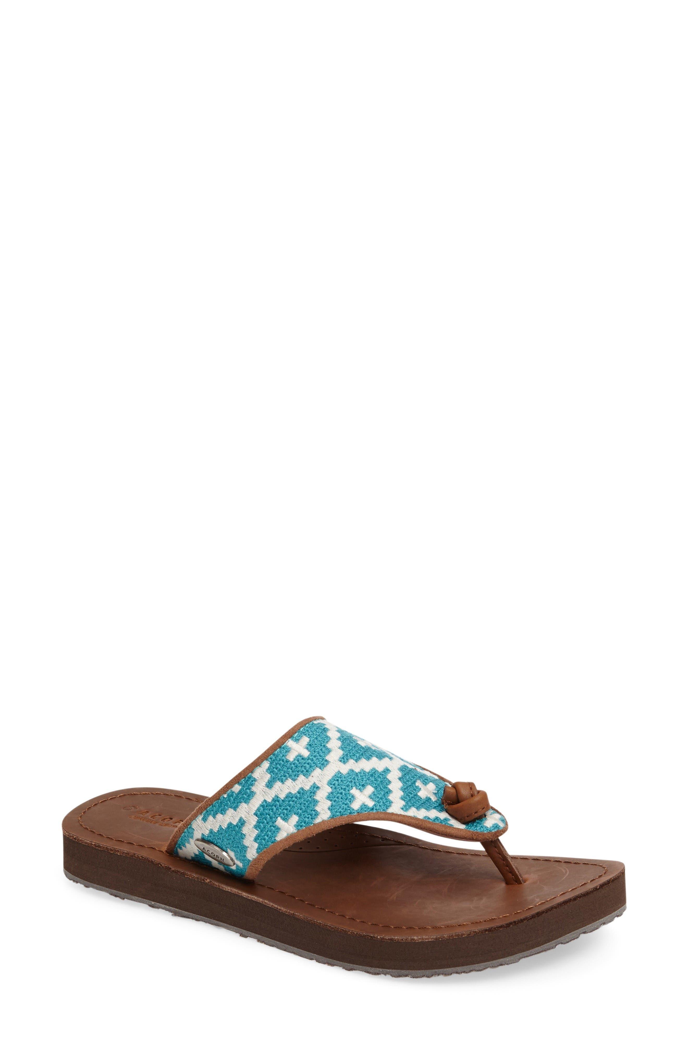 'Artwalk' Flip Flop,                             Main thumbnail 1, color,                             Turquoise/ Cream Fabric