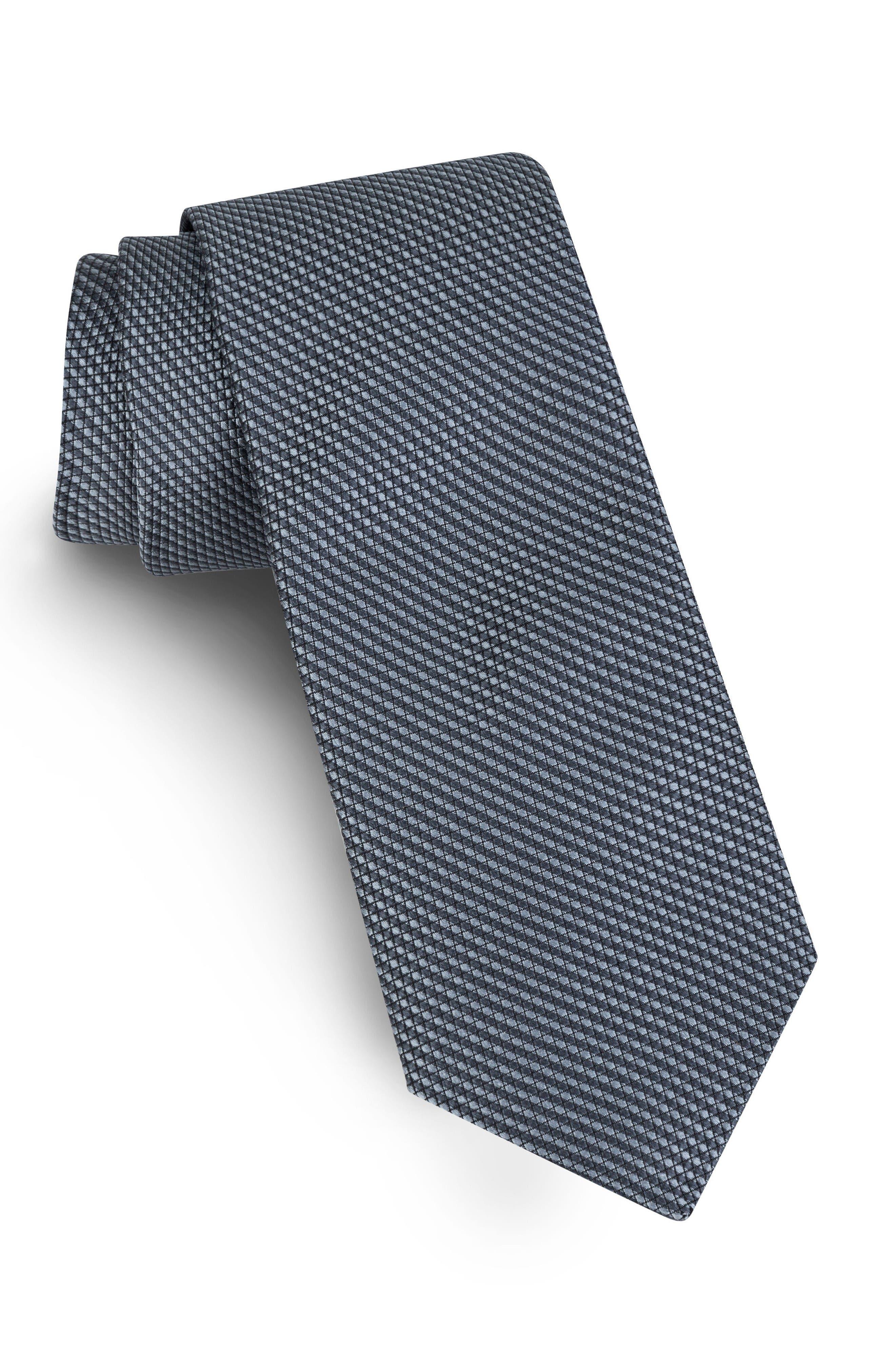 Solid Skinny Silk Tie,                         Main,                         color, Black