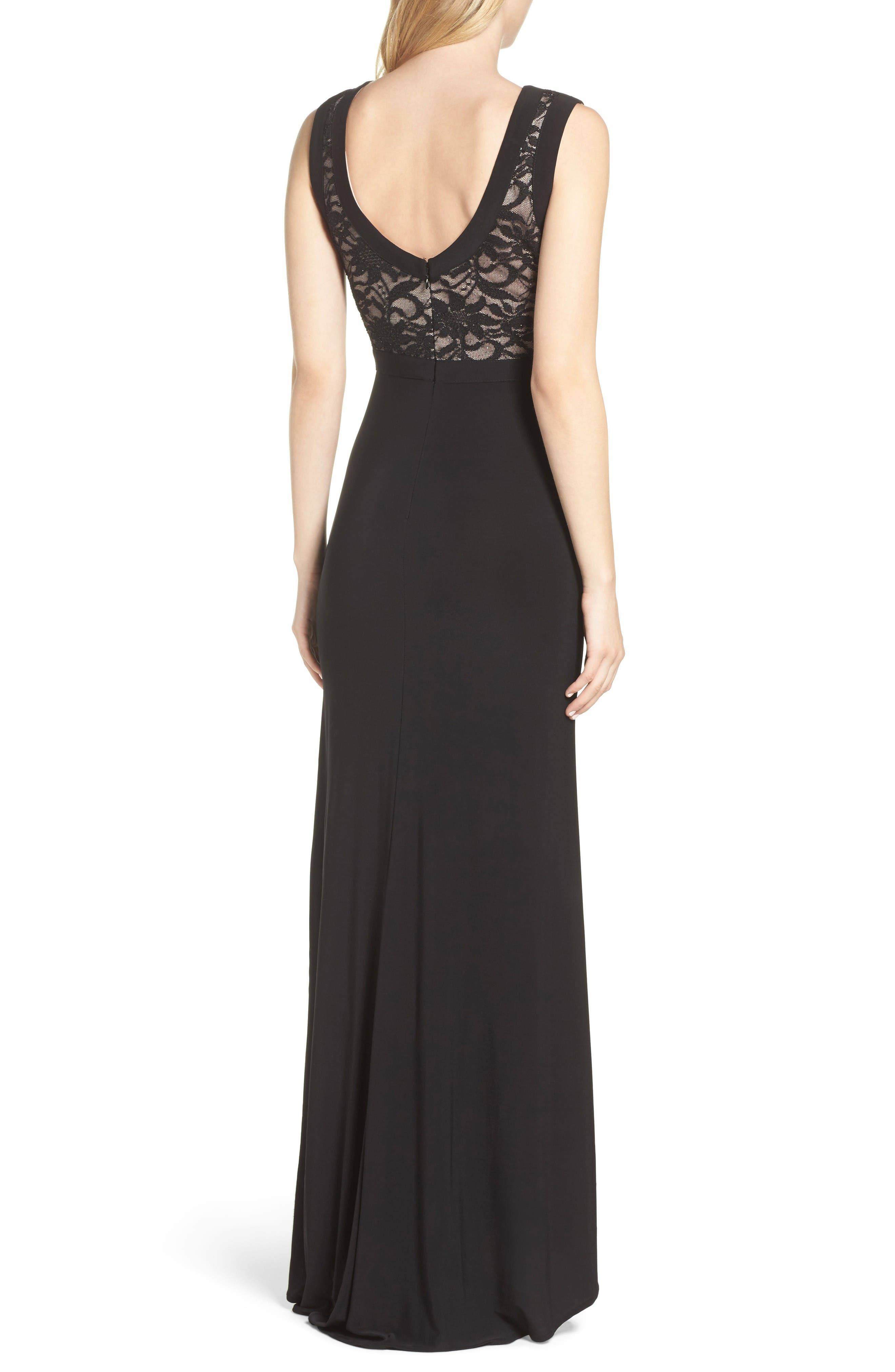 Lace & Jersey Gown,                             Alternate thumbnail 2, color,                             Black/ Nude