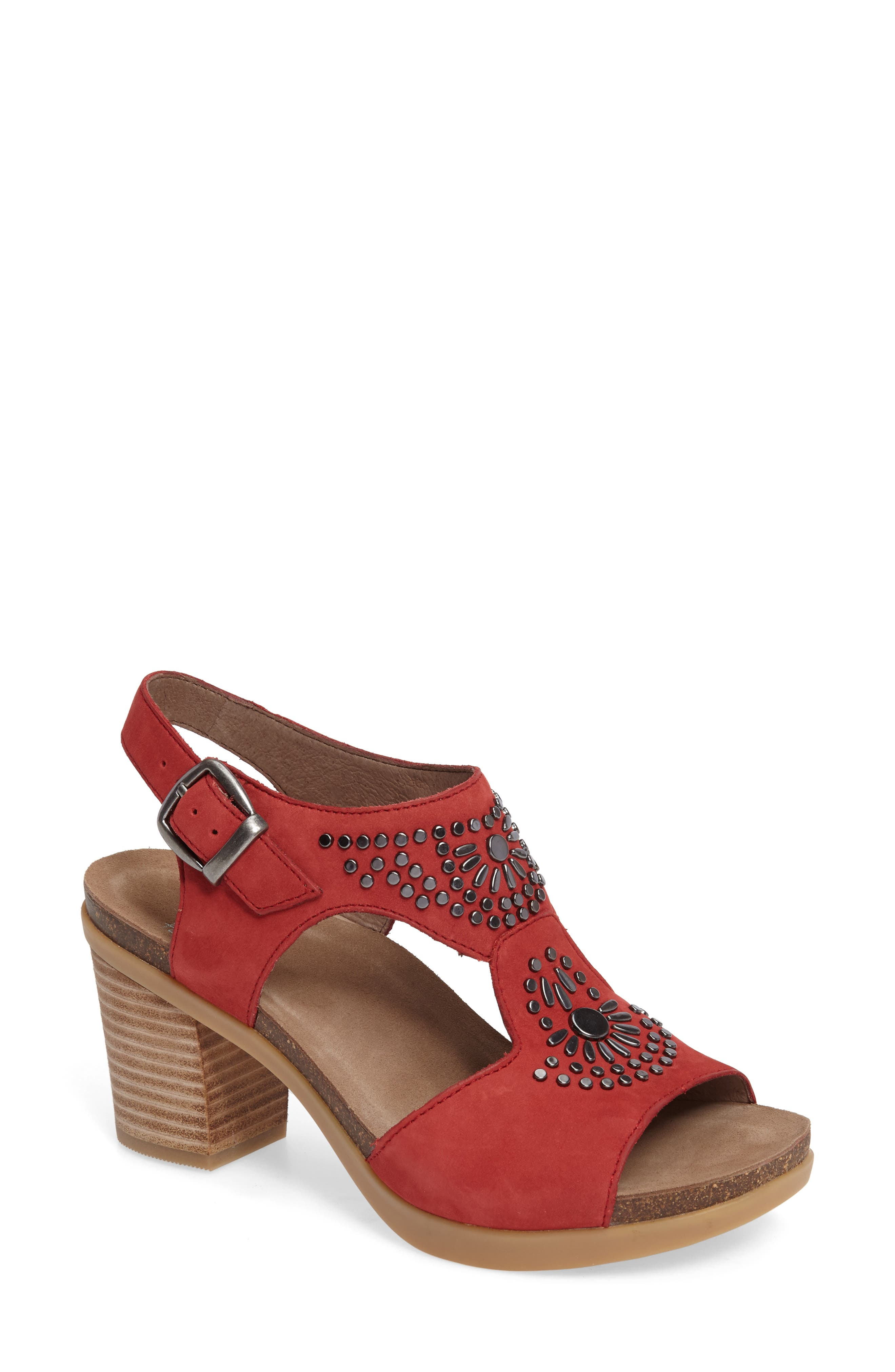 Deandra Studded Sandal,                             Main thumbnail 1, color,                             Red Nubuck Leather