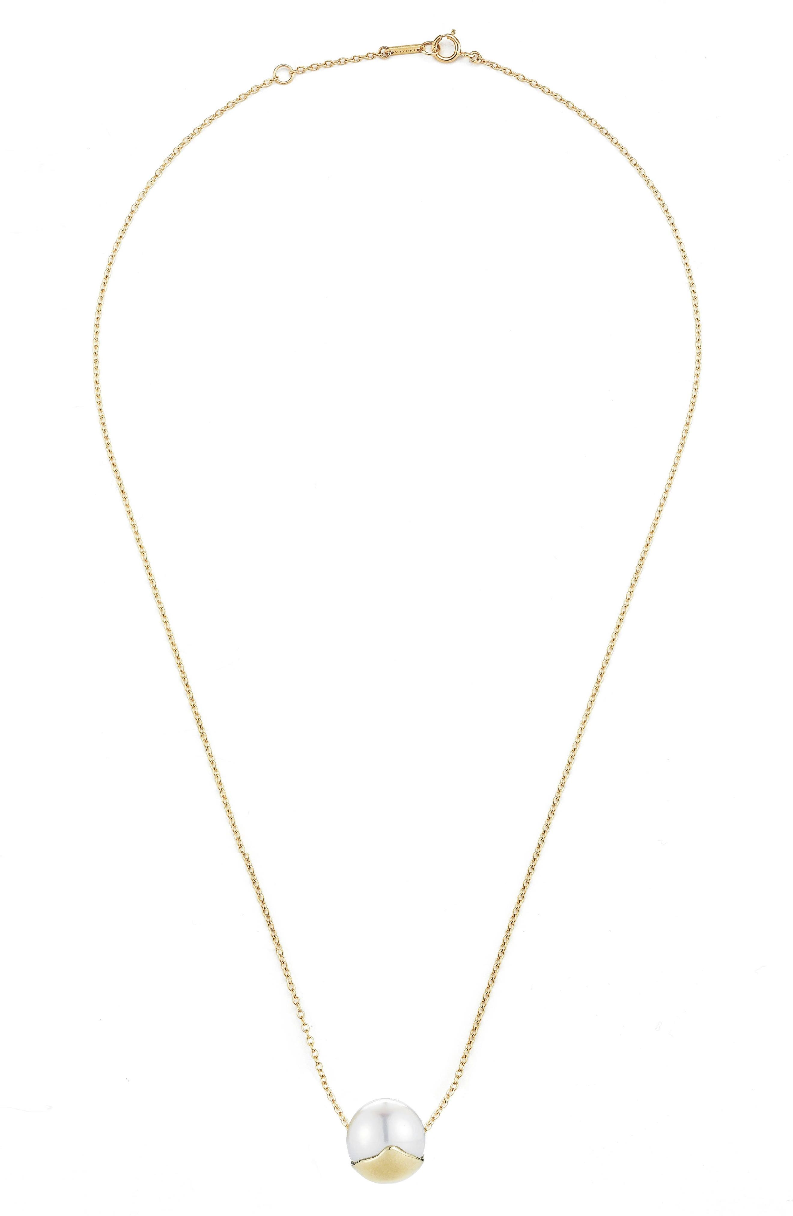 Sea of Beauty Pearl Pendant Necklace,                         Main,                         color, Yellow Gold/ White Pearl