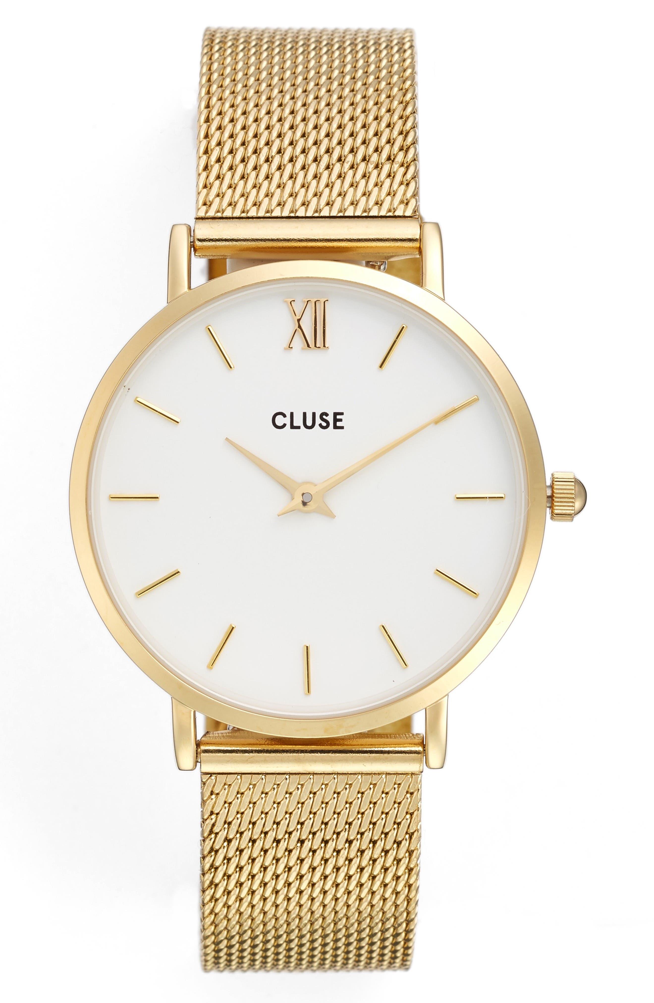 Main Image - CLUSE Minuit Mesh Strap Watch, 33mm