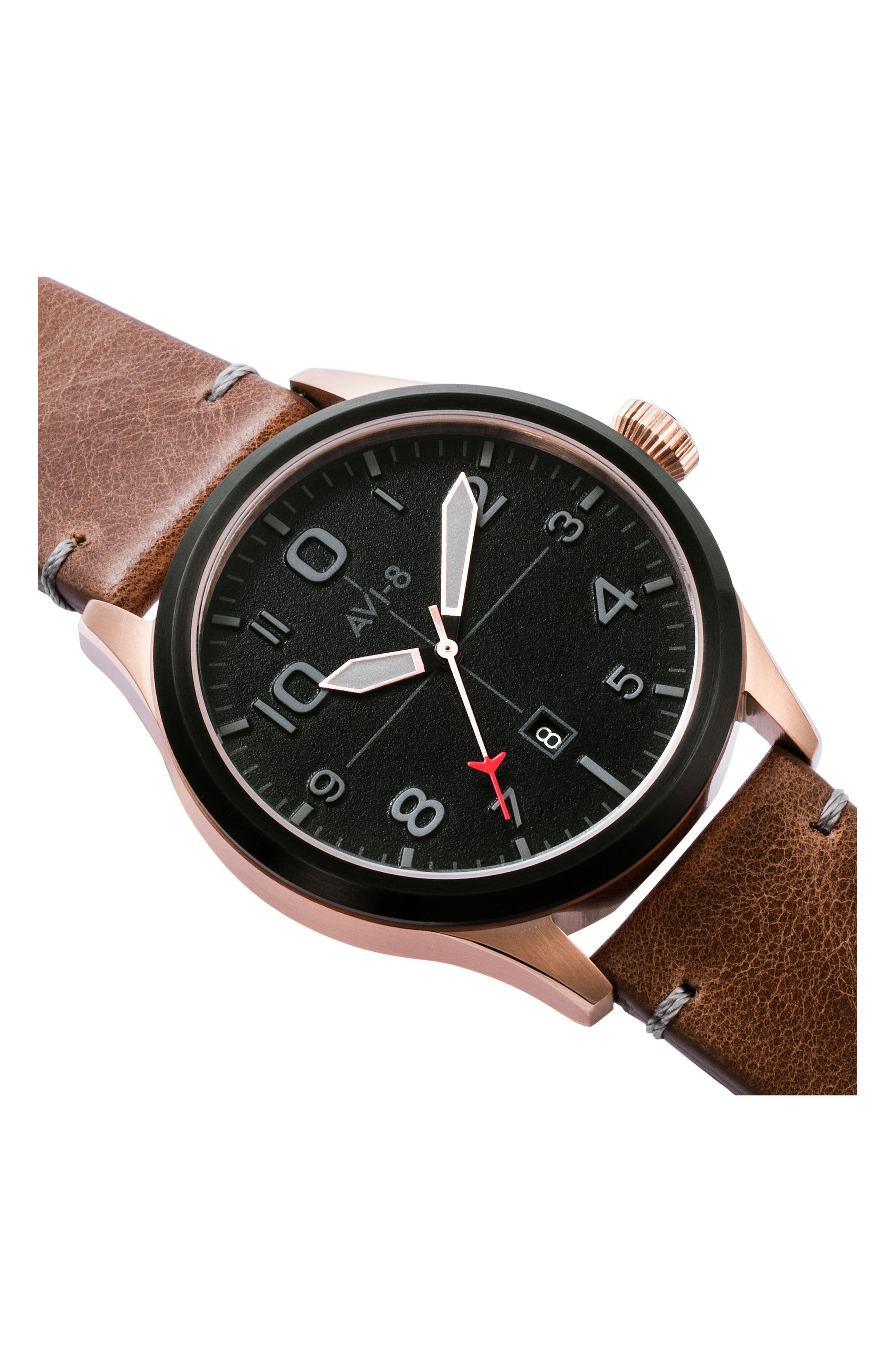 Flyboy Leather Strap Watch, 43mm,                             Alternate thumbnail 4, color,                             Black/ Brown