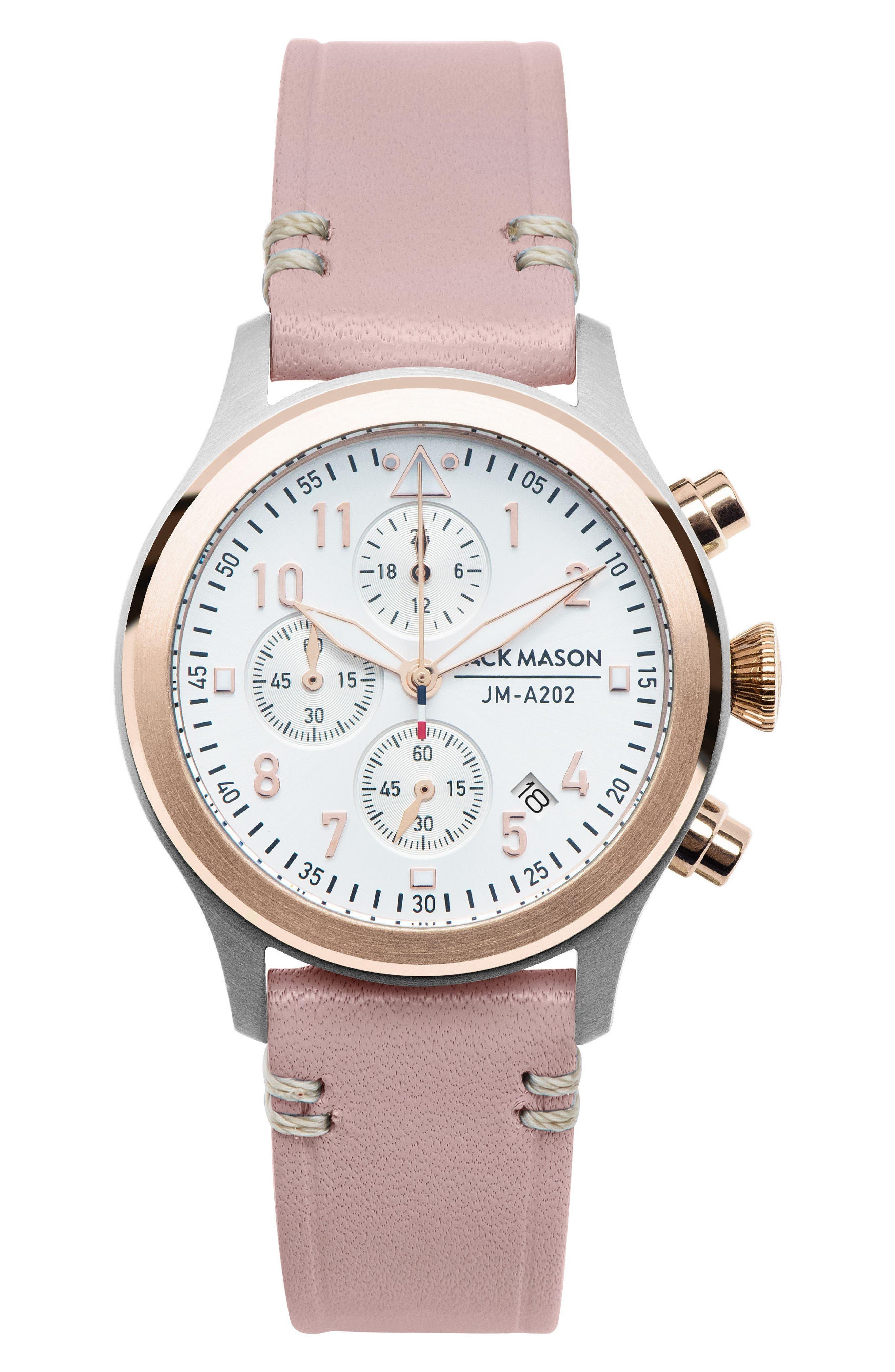 Main Image - Jack Mason Aviation Chronograph Leather Strap Watch, 36mm