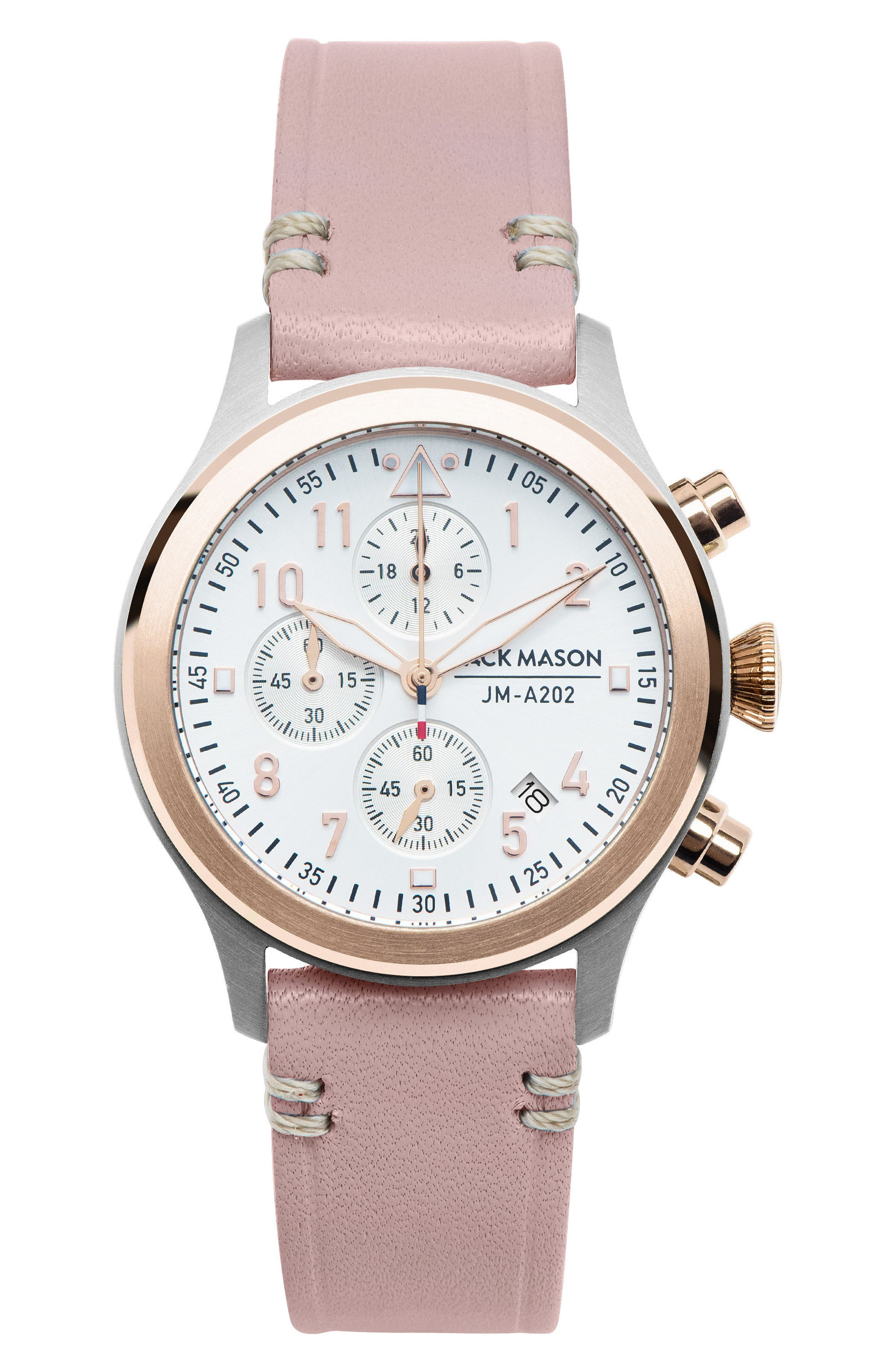 Aviation Chronograph Leather Strap Watch, 36mm,                         Main,                         color, Blush Pink/ White/ Gold