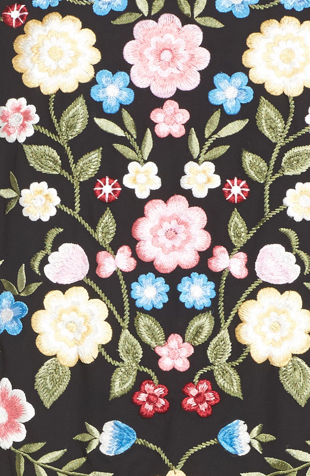 Flower Foliage Embroidered Bomber Jacket,                             Alternate thumbnail 5, color,                             Black