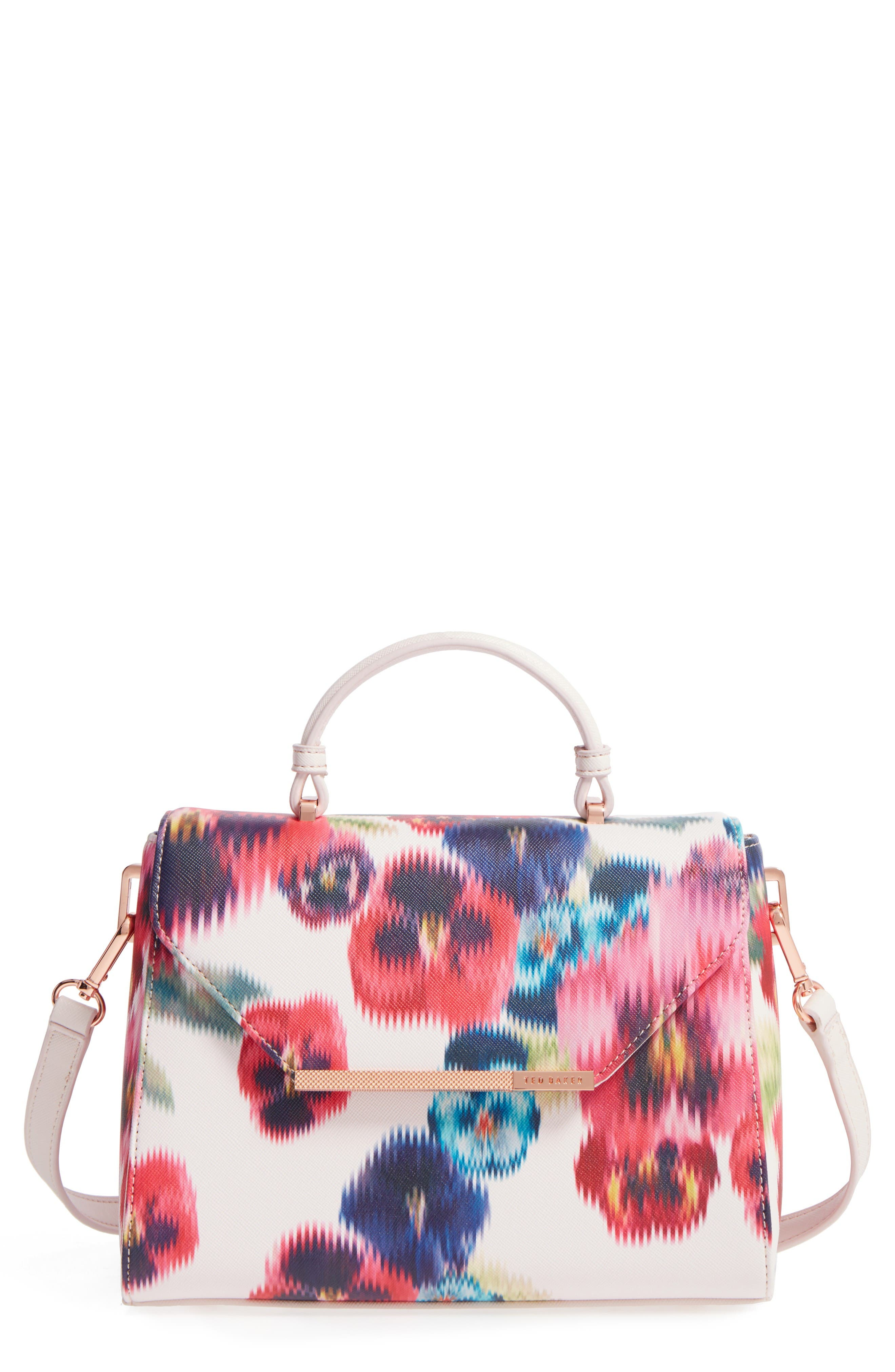 Main Image - Ted Baker London Expressive Pansy Faux Leather Top Handle Satchel