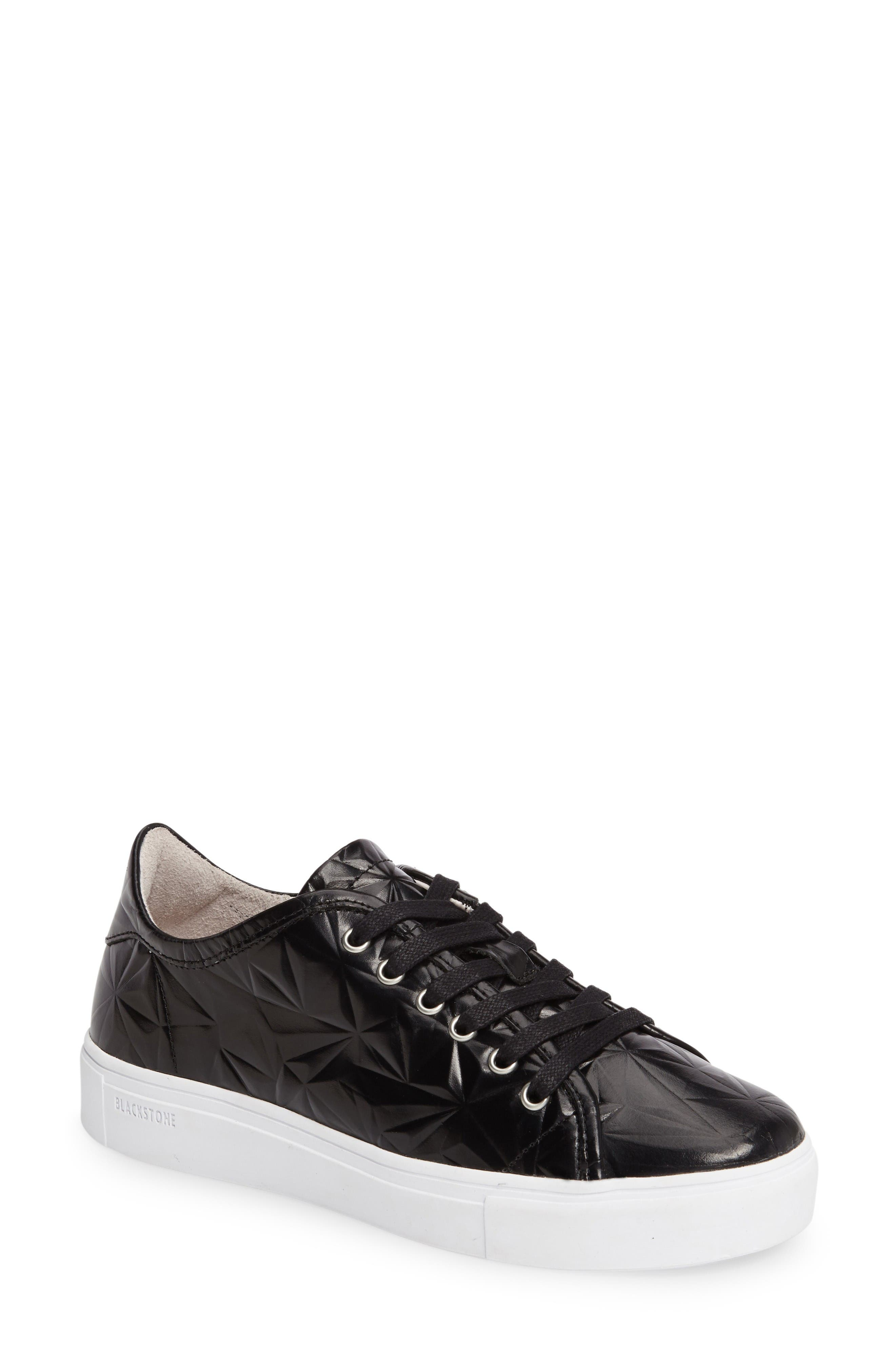 NL34 Faceted Sneaker,                         Main,                         color, Black Leather
