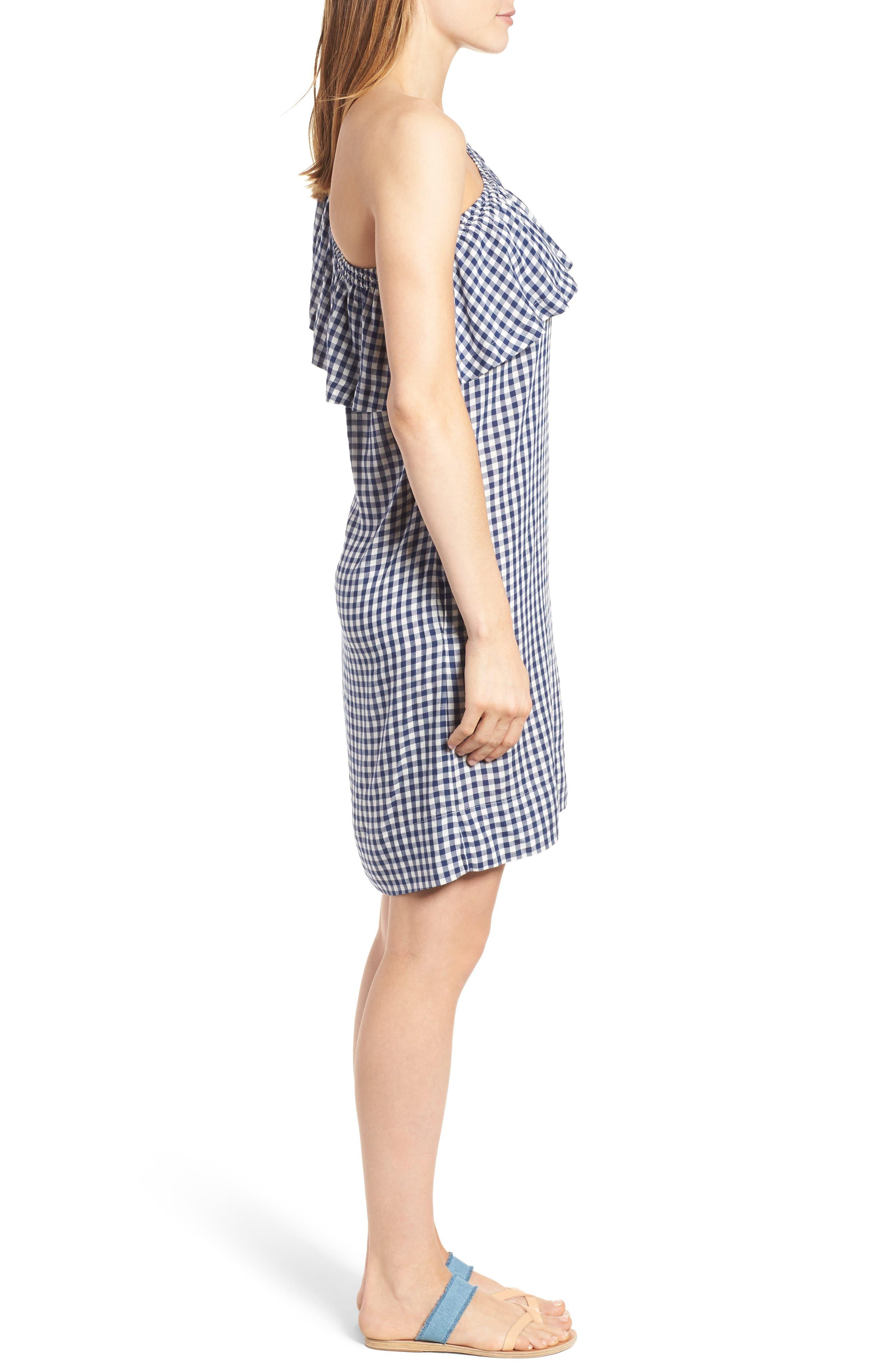Alternate Image 4  - Velvet by Graham & Spencer One-Shoulder Check Dress