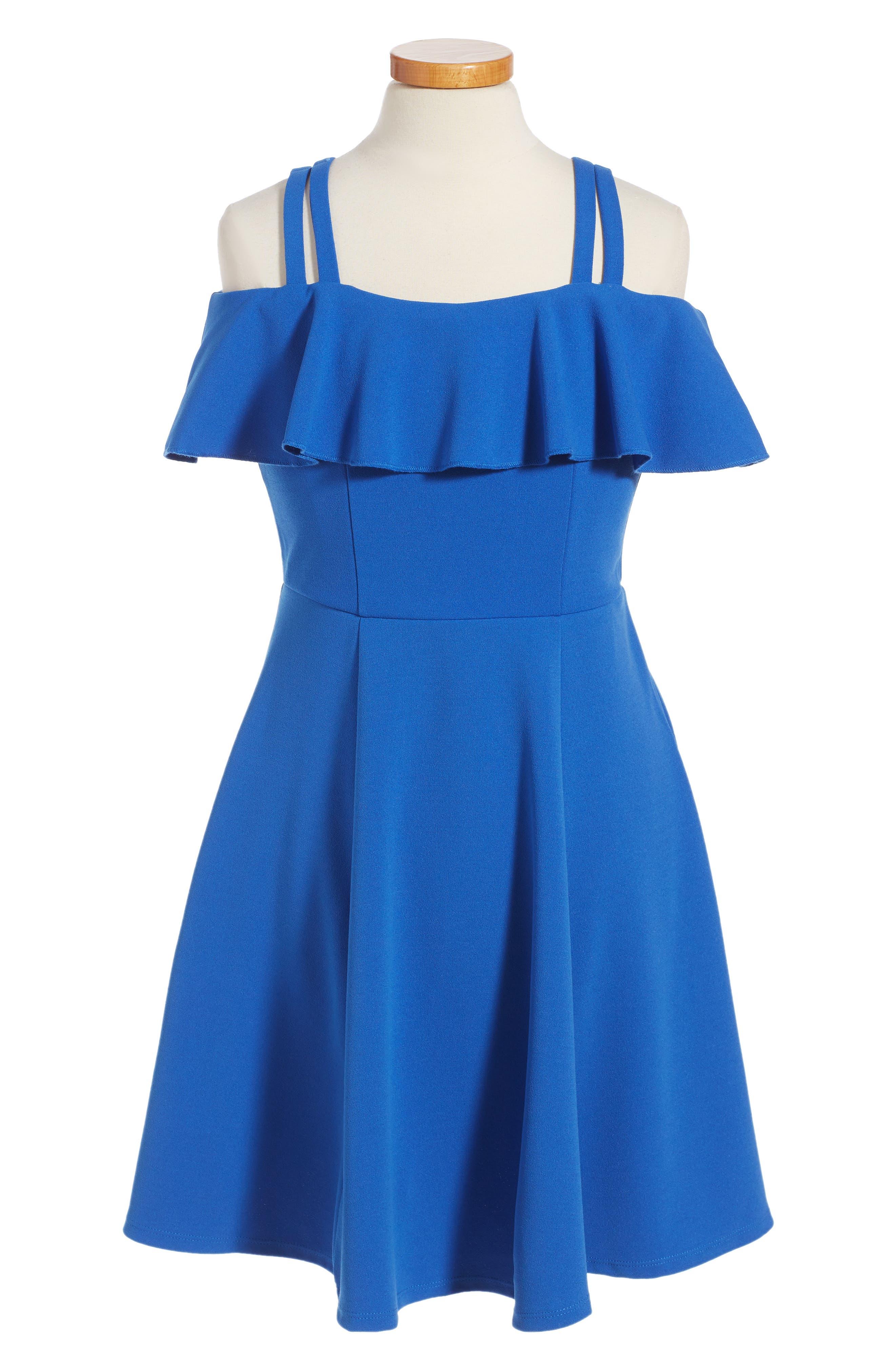 Off the Shoulder Ruffle Dress,                         Main,                         color, Royal Blue