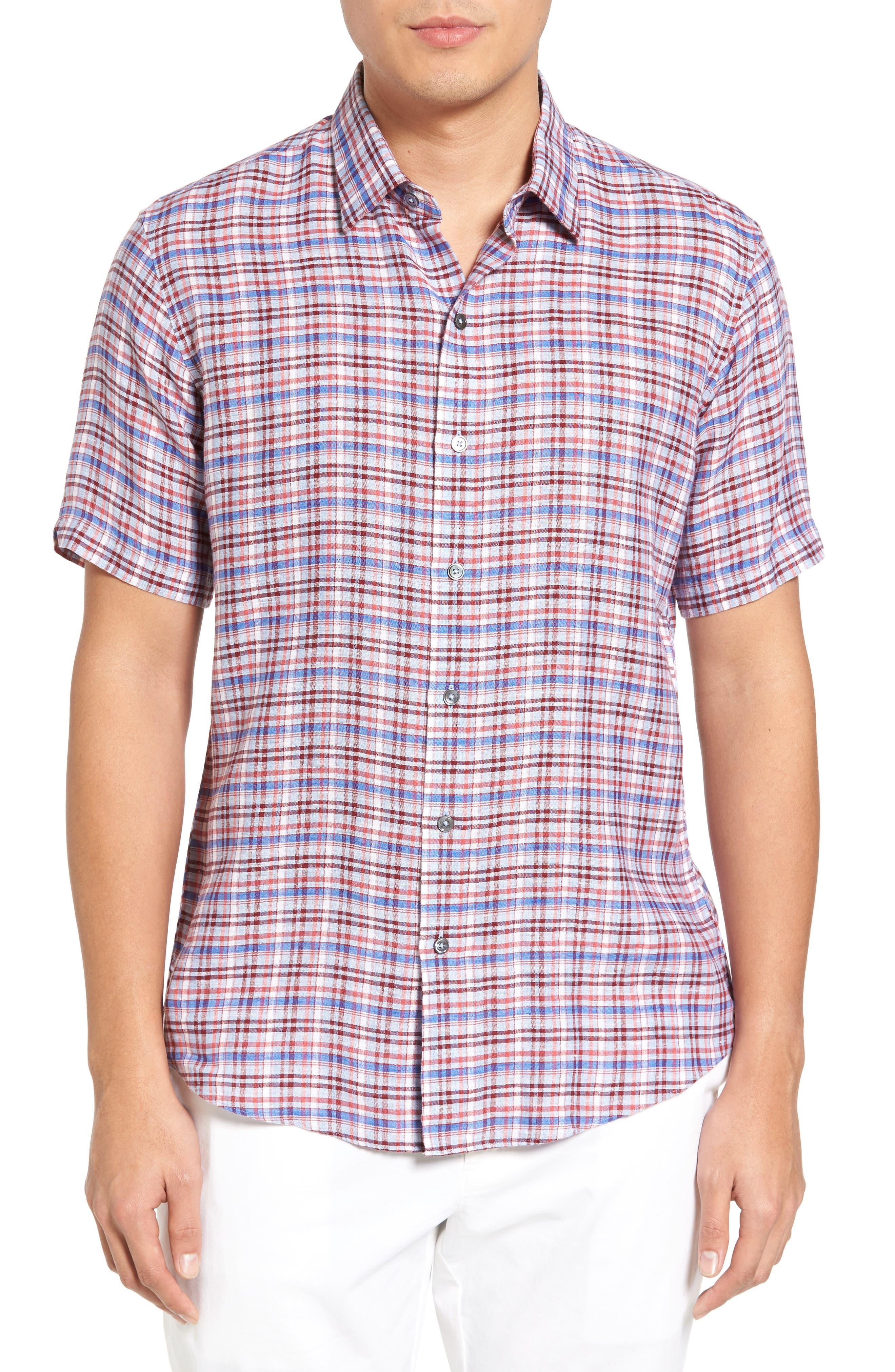 Alternate Image 1 Selected - Zachary Prell Bean Trim Fit Plaid Linen Sport Shirt