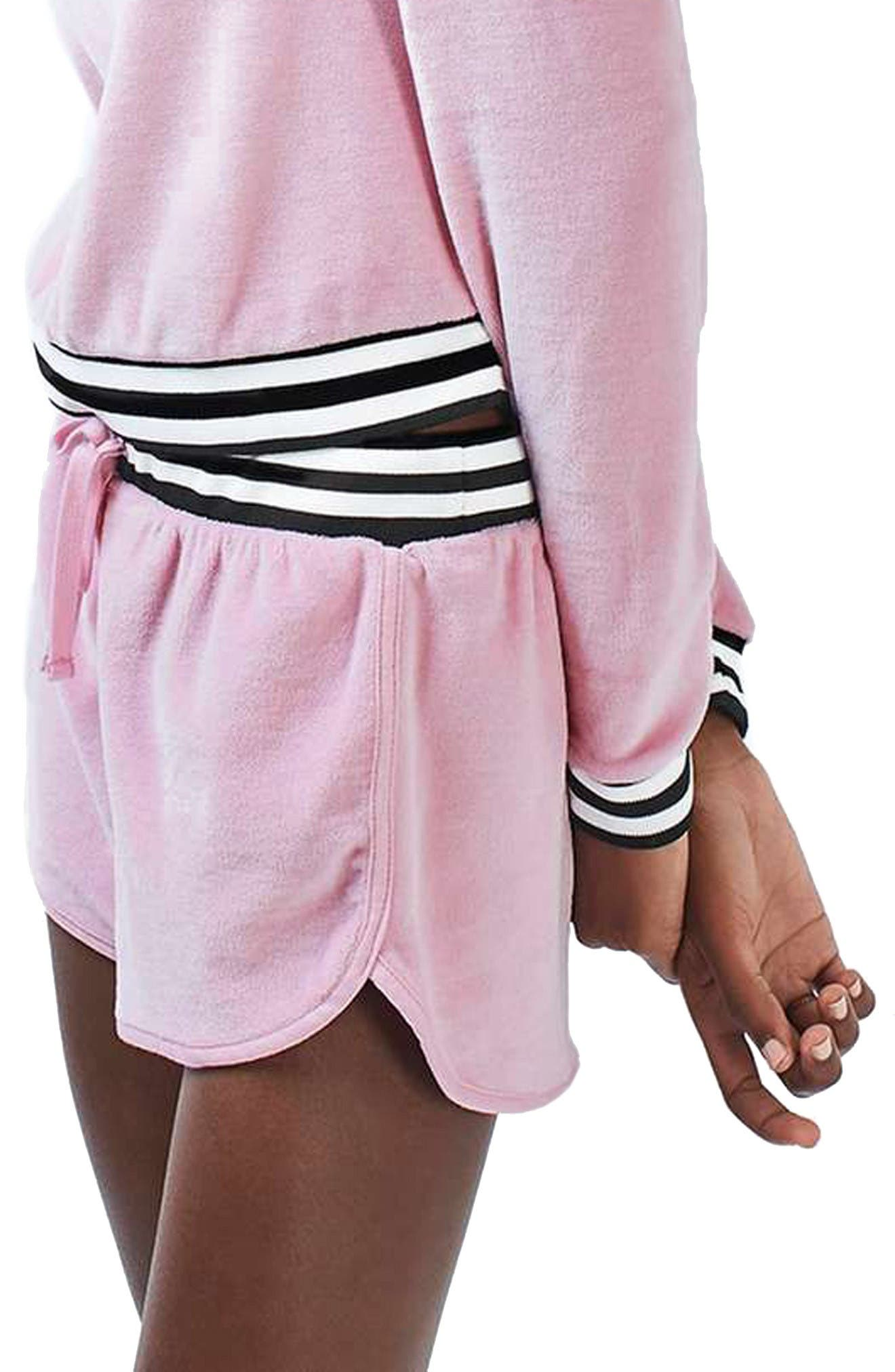 Alternate Image 5  - Topshop Stripe Edge Velour Hoodie