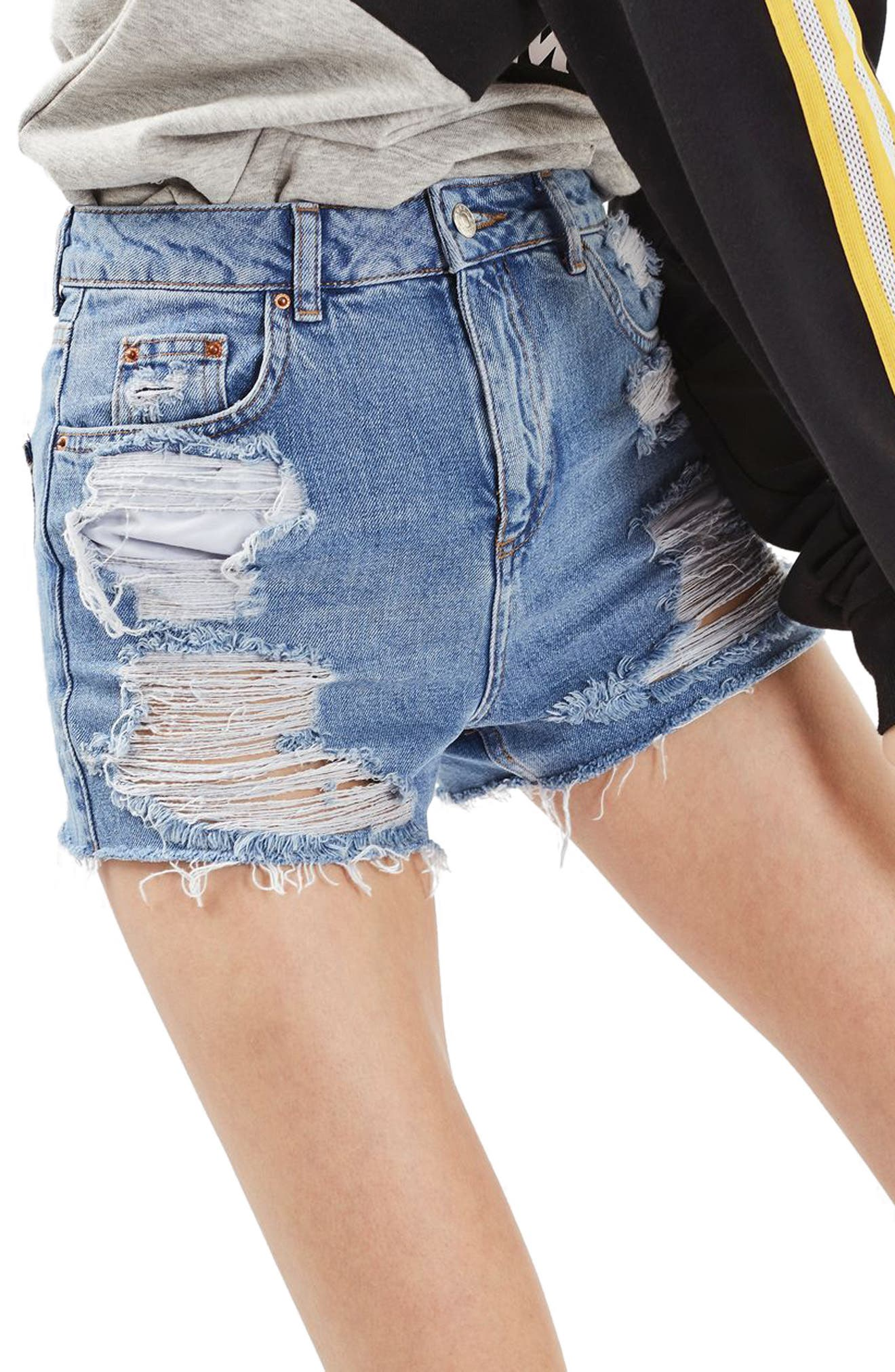 Ripped Mom Shorts,                             Main thumbnail 1, color,                             Midtone Blue