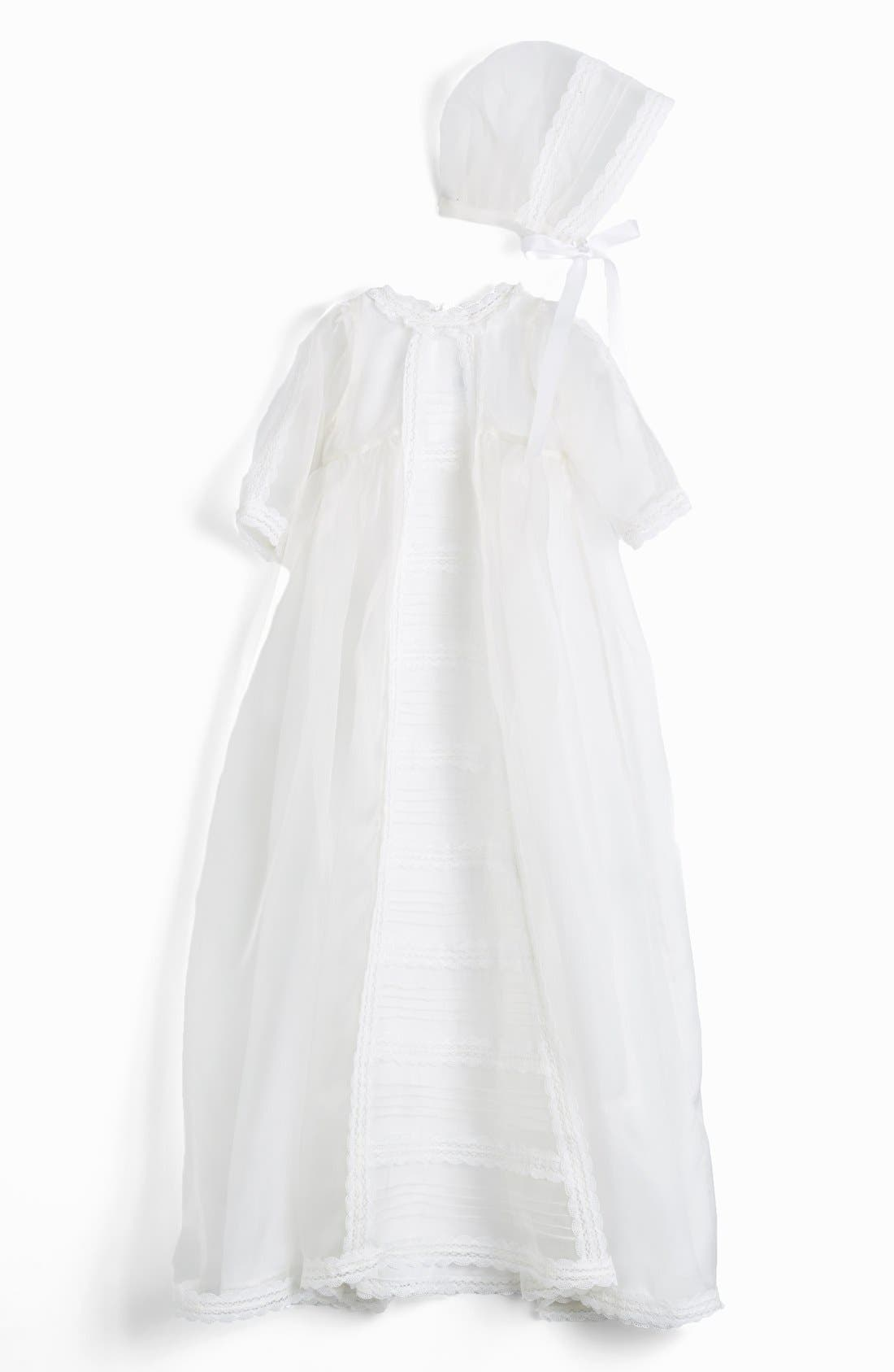 Isabel Garreton 'Caress' Silk Organza Christening Gown & Bonnet (Baby)