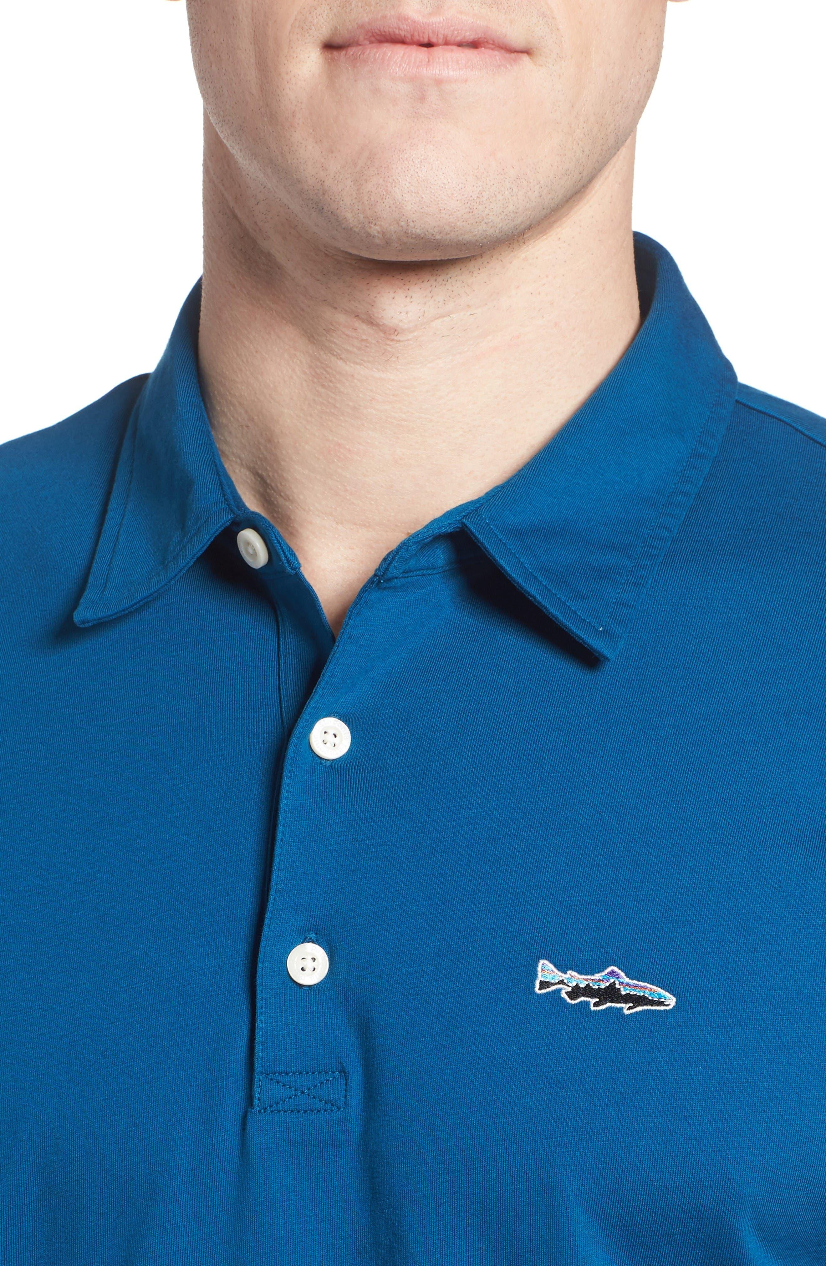 'Trout Fitz Roy' Organic Cotton Polo,                             Alternate thumbnail 4, color,                             Radar Blue