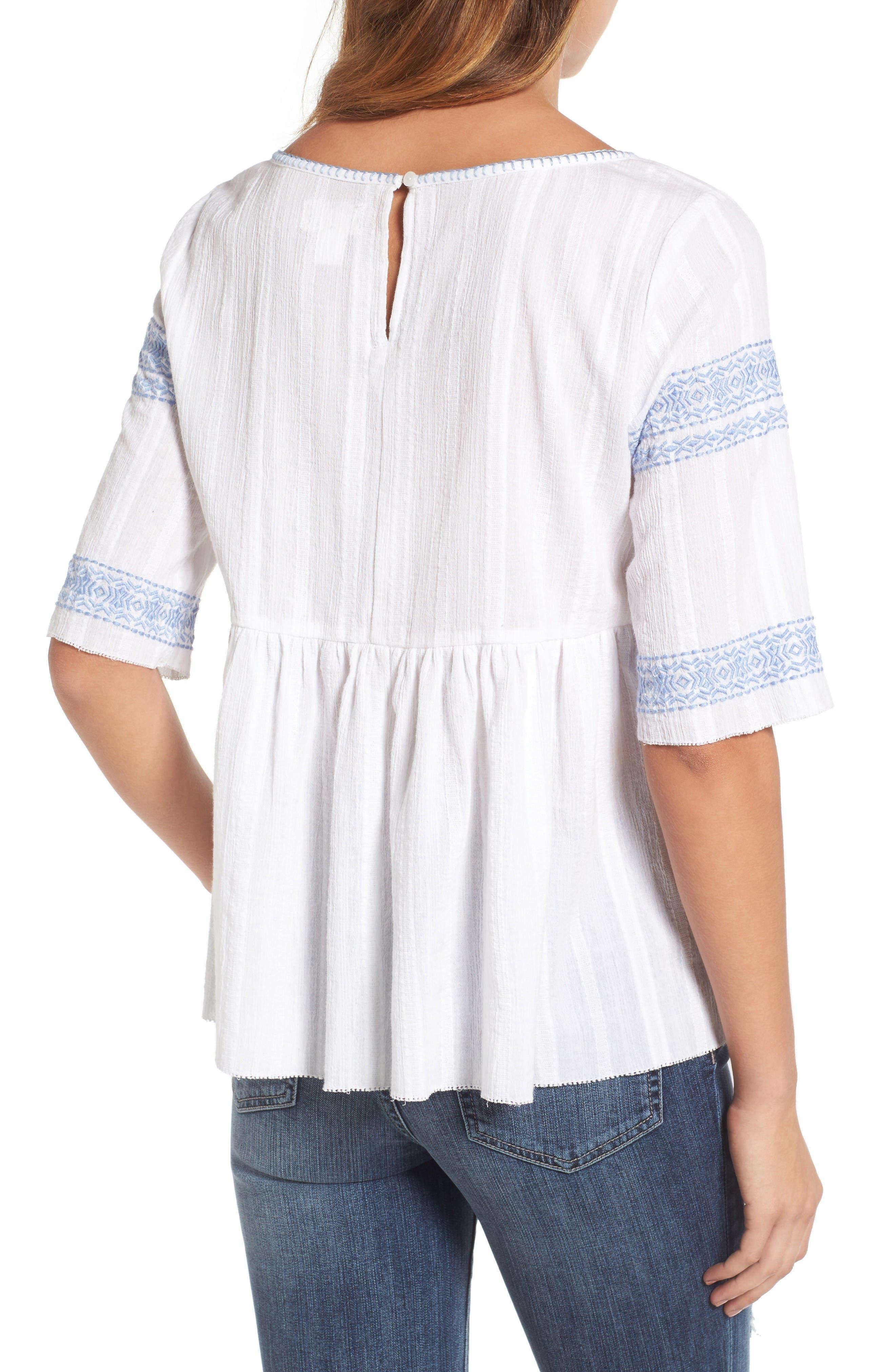 Alternate Image 2  - Caslon® Embroidered Babydoll Top (Regular & Petite)