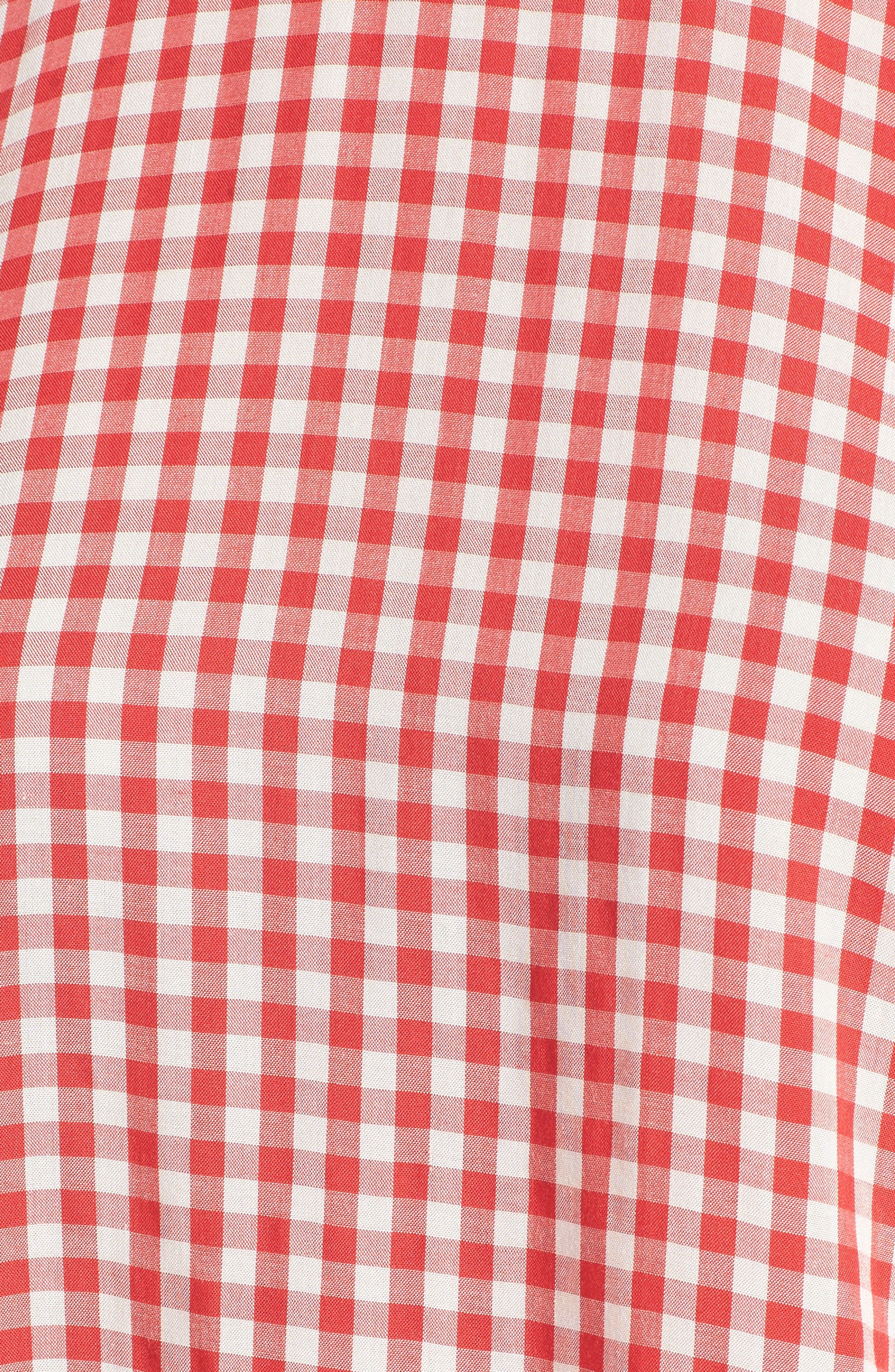 Ruffled Check Blouse,                             Alternate thumbnail 5, color,                             Red