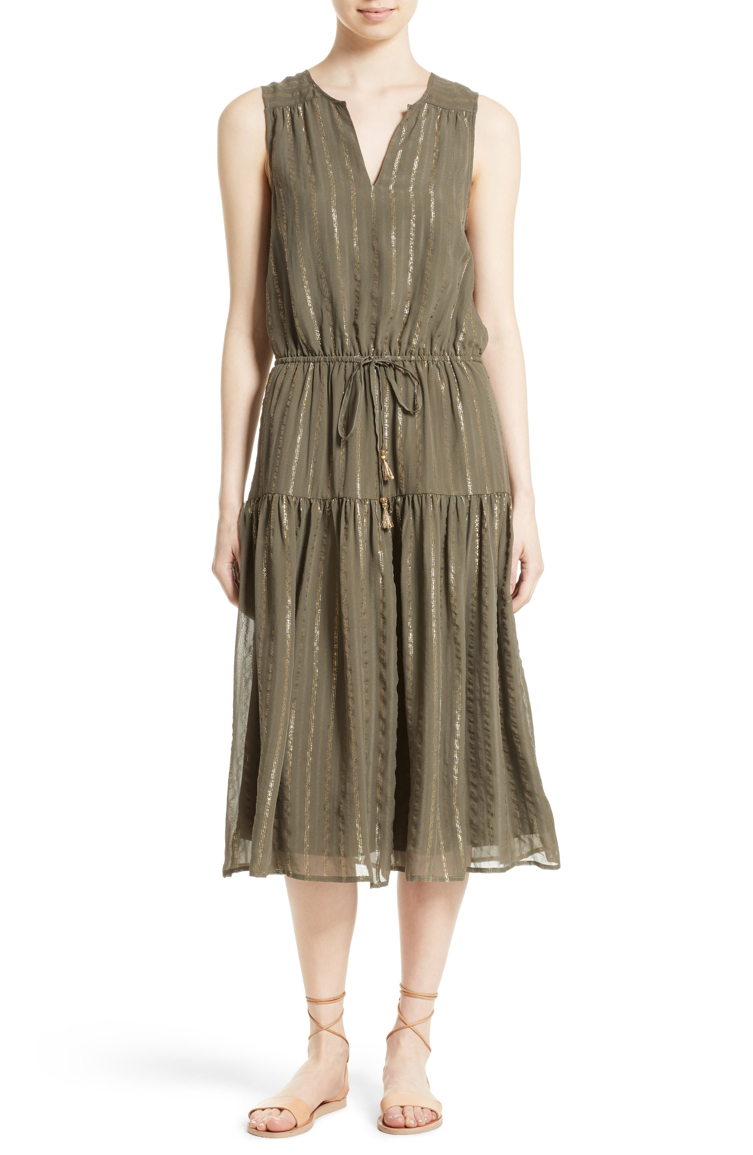 Klea Metallic Stripe Silk Midi Dress,                         Main,                         color, Fatigue