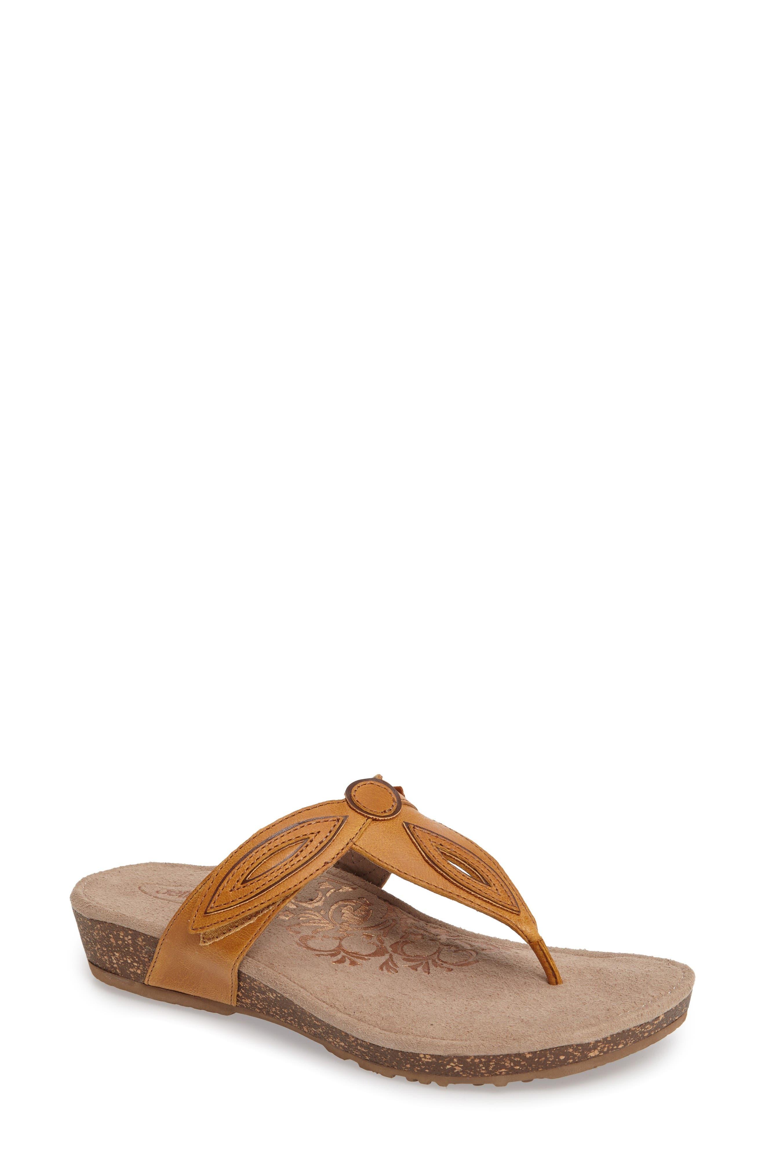 'Terri' Flip Flop,                         Main,                         color, Mustard Leather