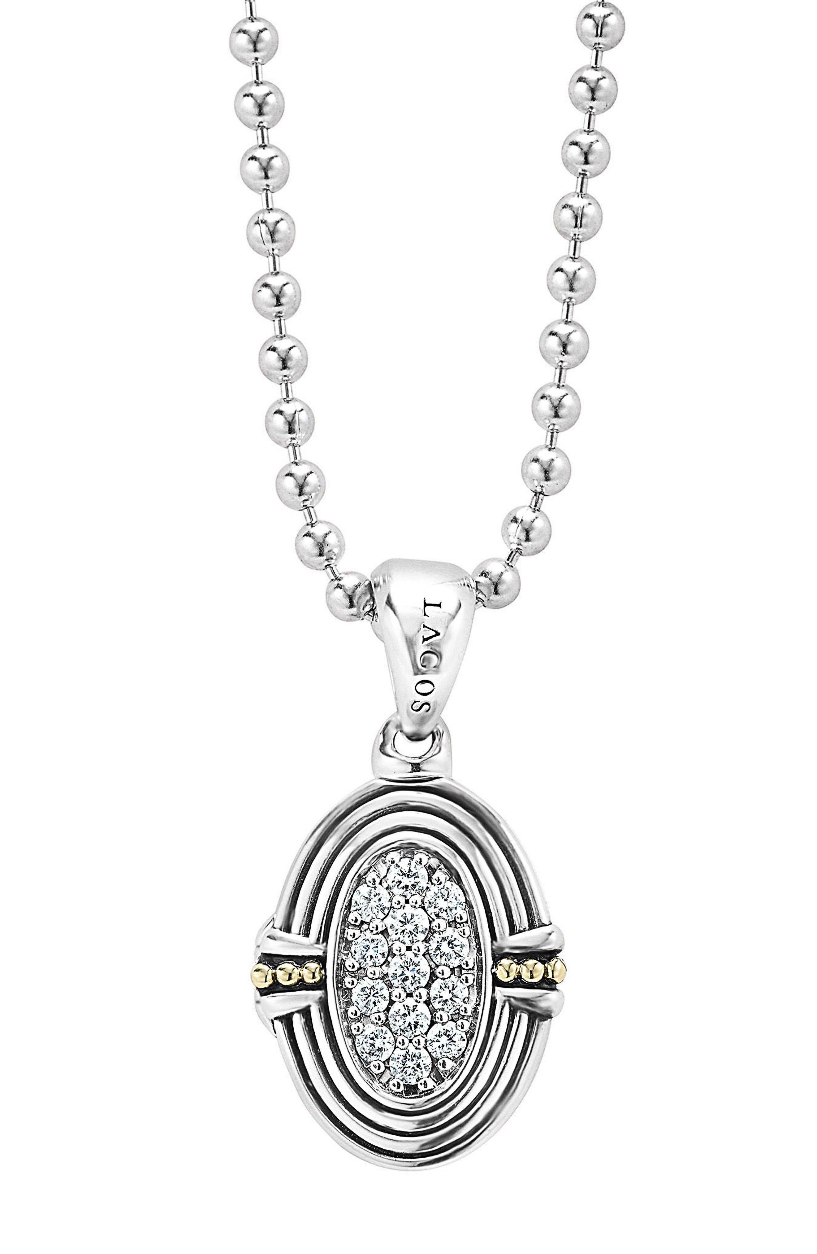 LAGOS Beloved Diamond Oval Locket Necklace
