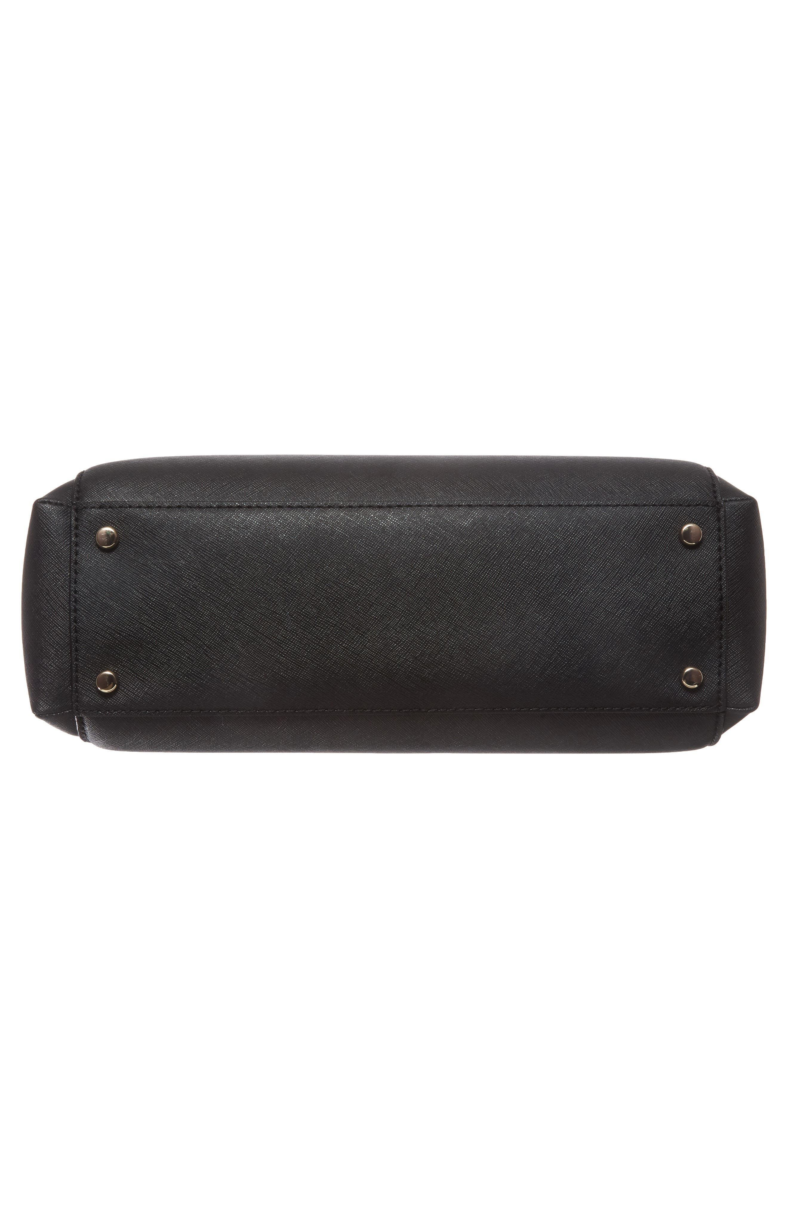 cameron street - teegan calfskin leather satchel,                             Alternate thumbnail 6, color,                             Black