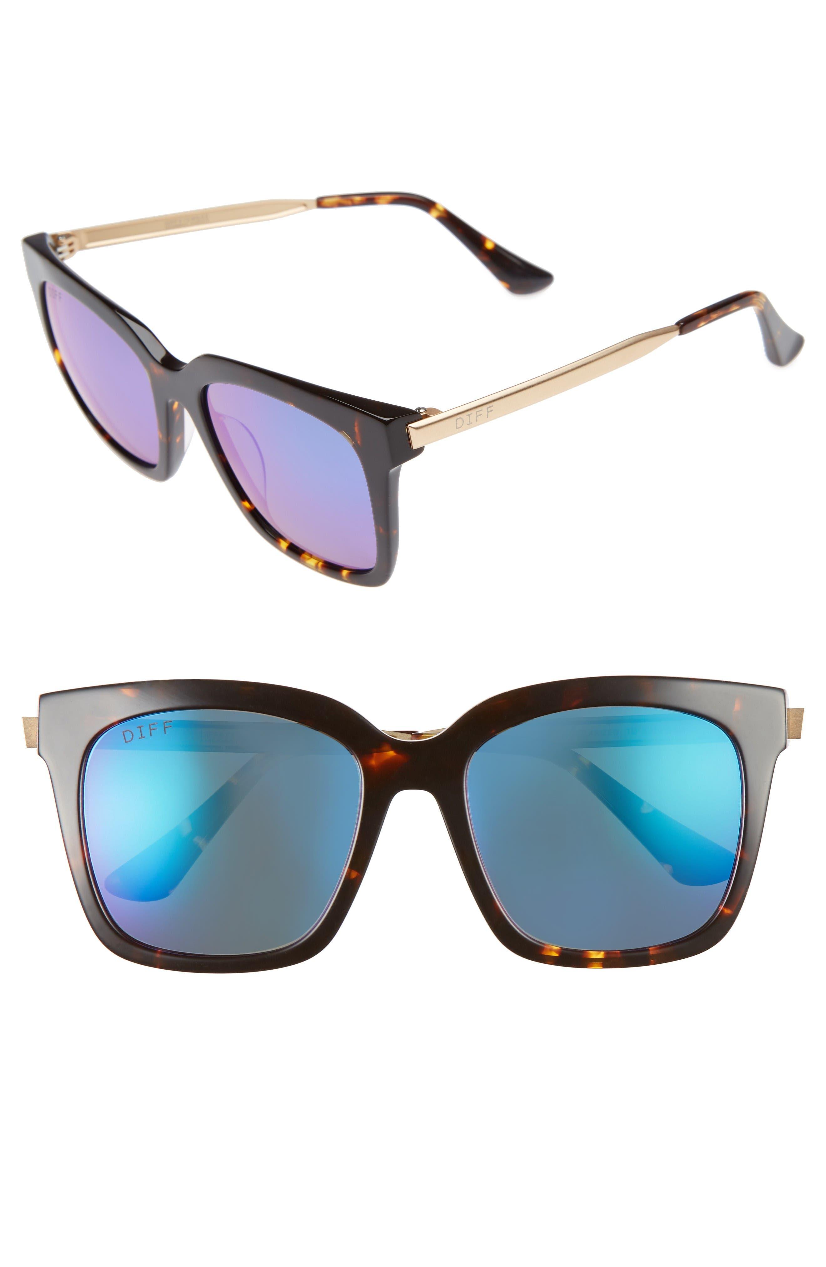 Bella 52mm Polarized Sunglasses,                             Main thumbnail 1, color,                             Tortoise/ Blue