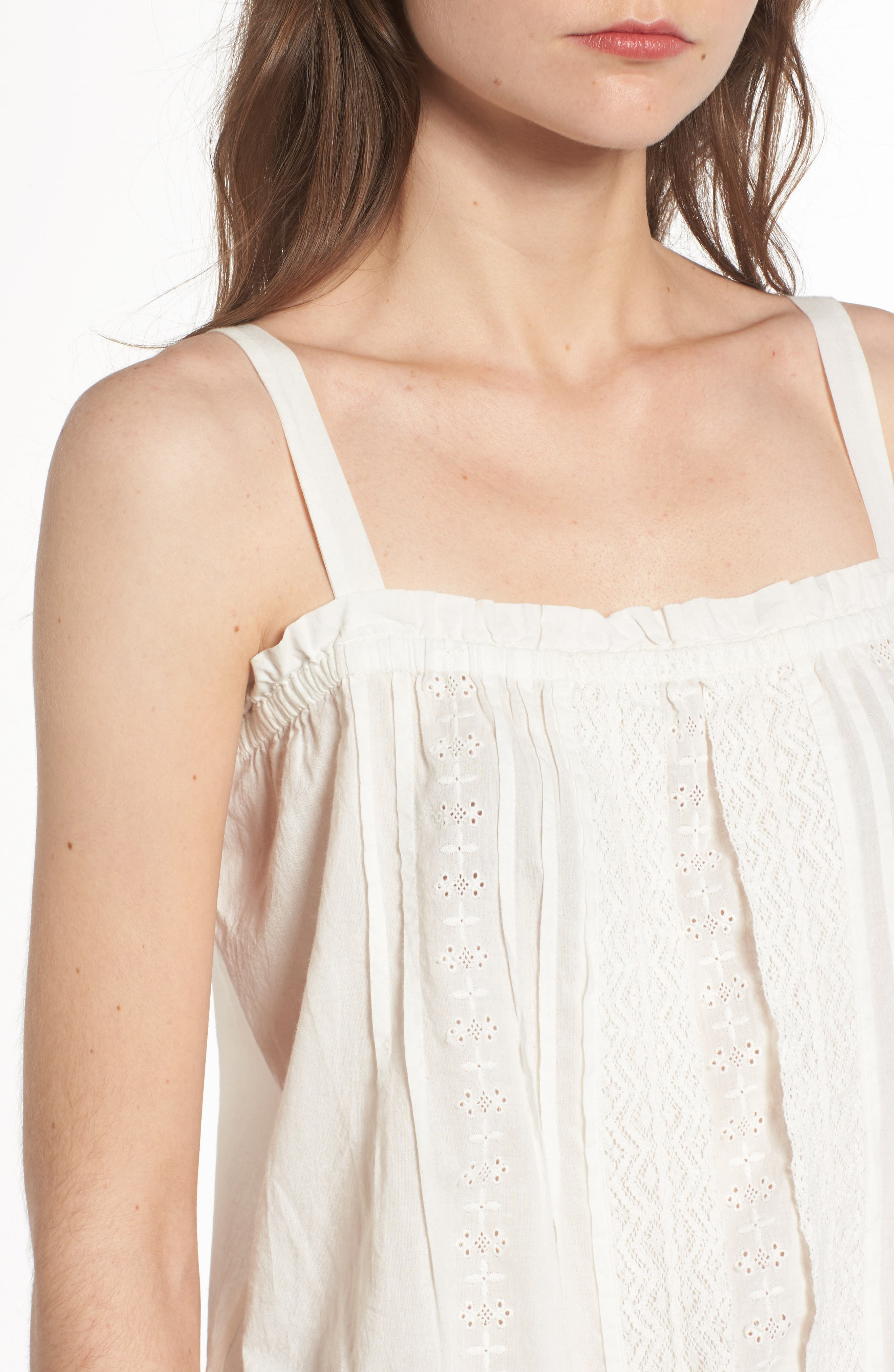 The Lace Cotton Tank,                             Alternate thumbnail 5, color,                             Star White