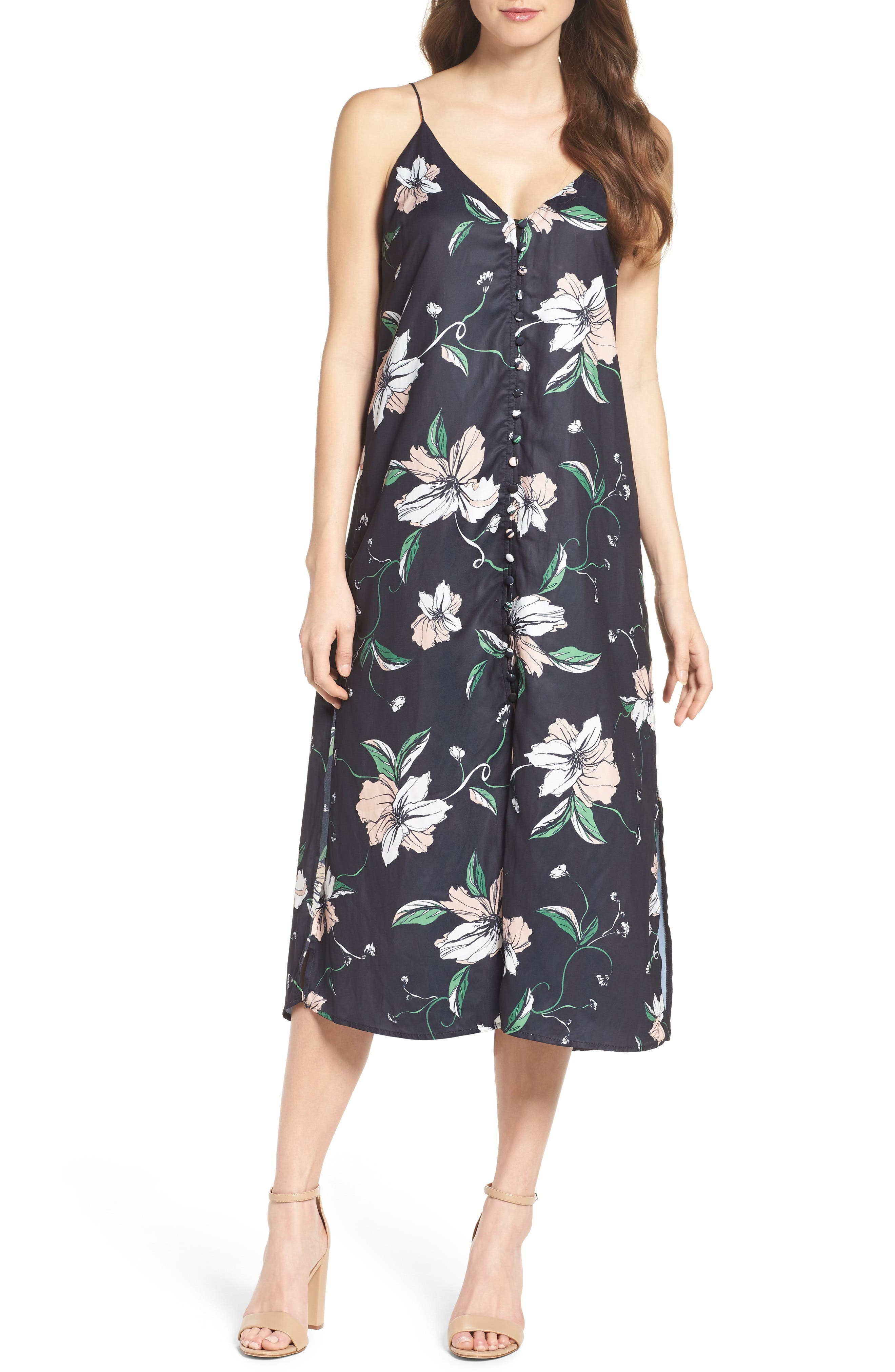 Main Image - Bardot Hibiscus Print Midi Dress