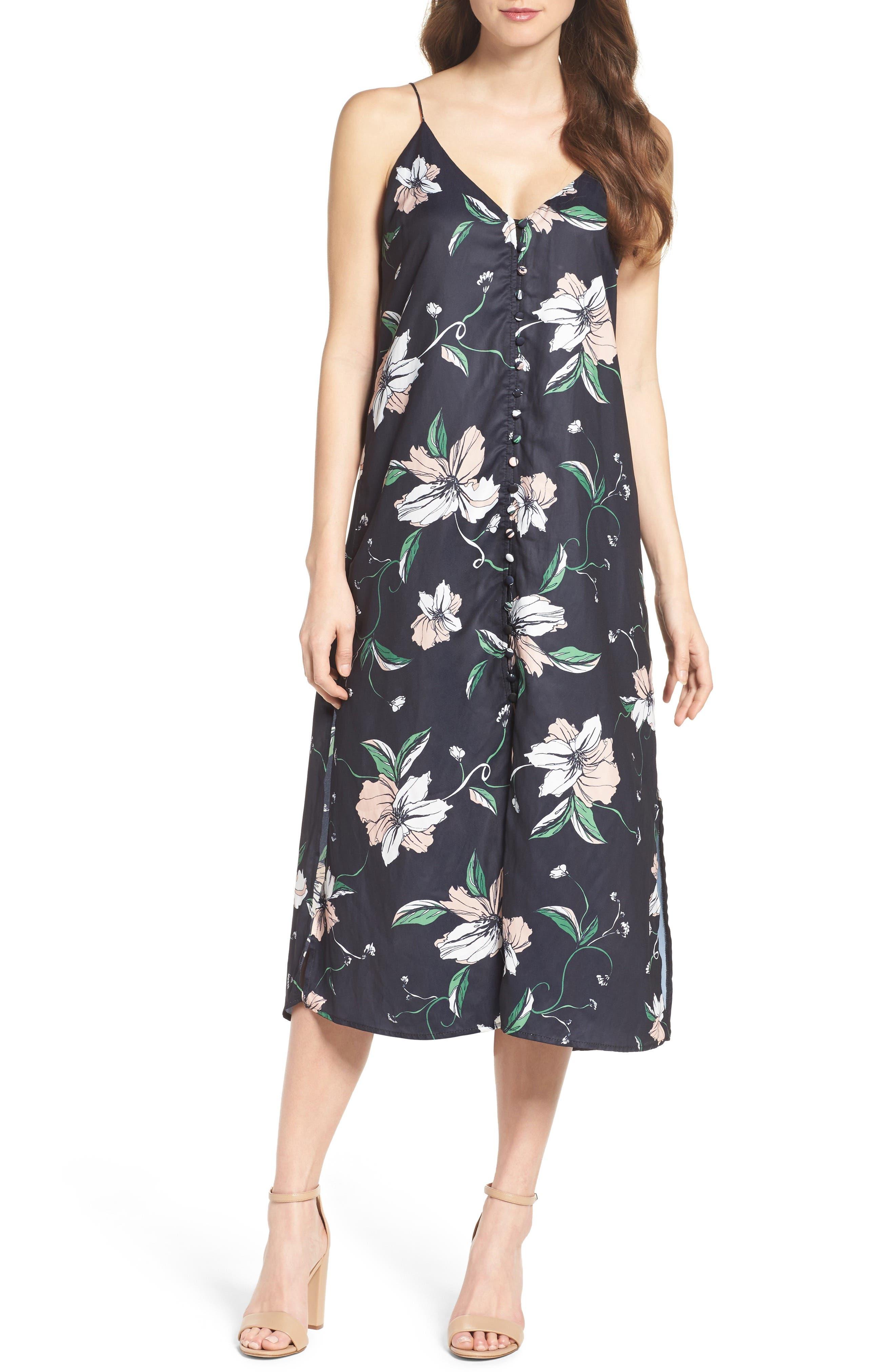 Hibiscus Print Midi Dress,                         Main,                         color, Black