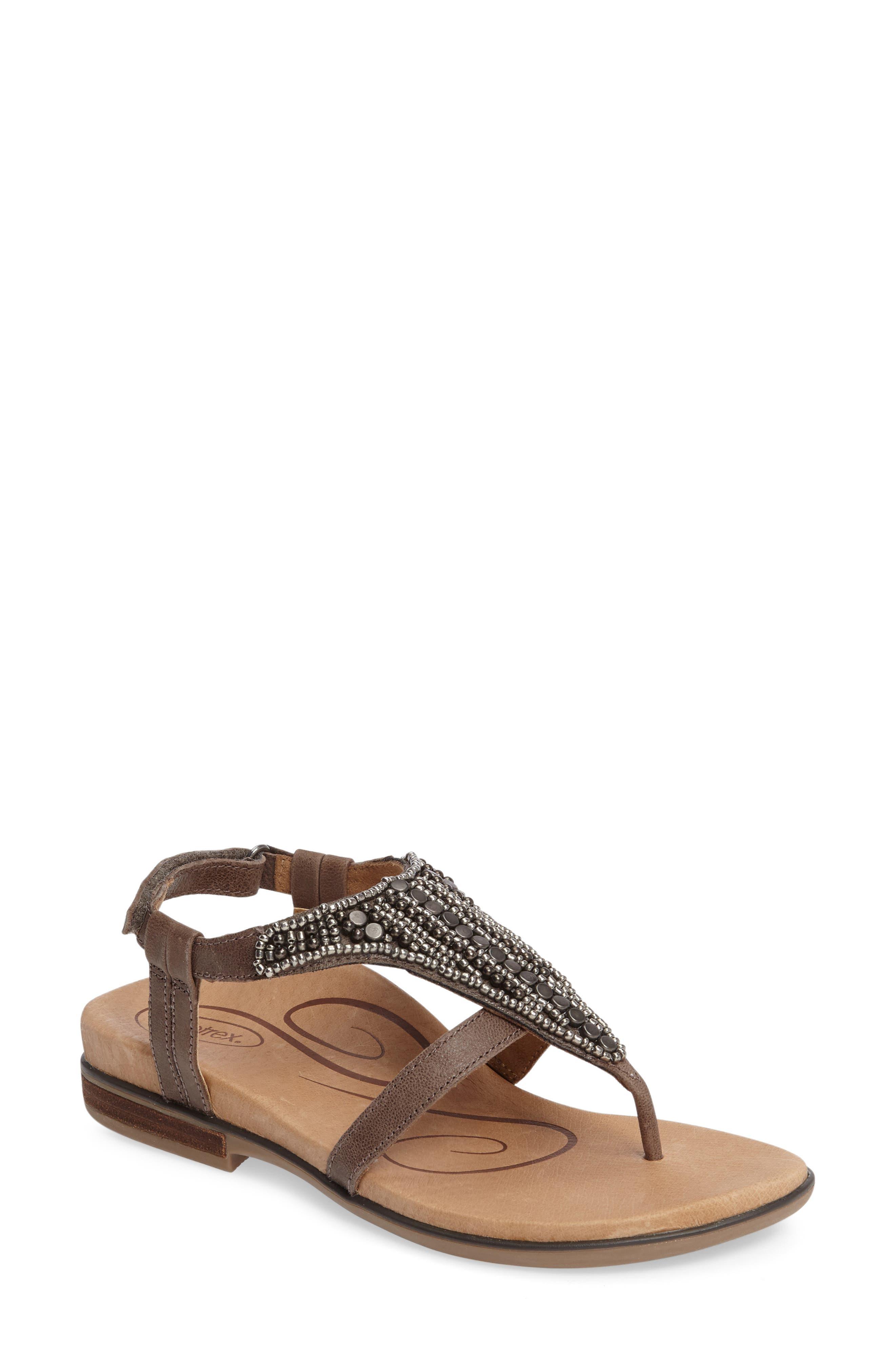 Sheila Embellished Sandal,                         Main,                         color, Stone Leather