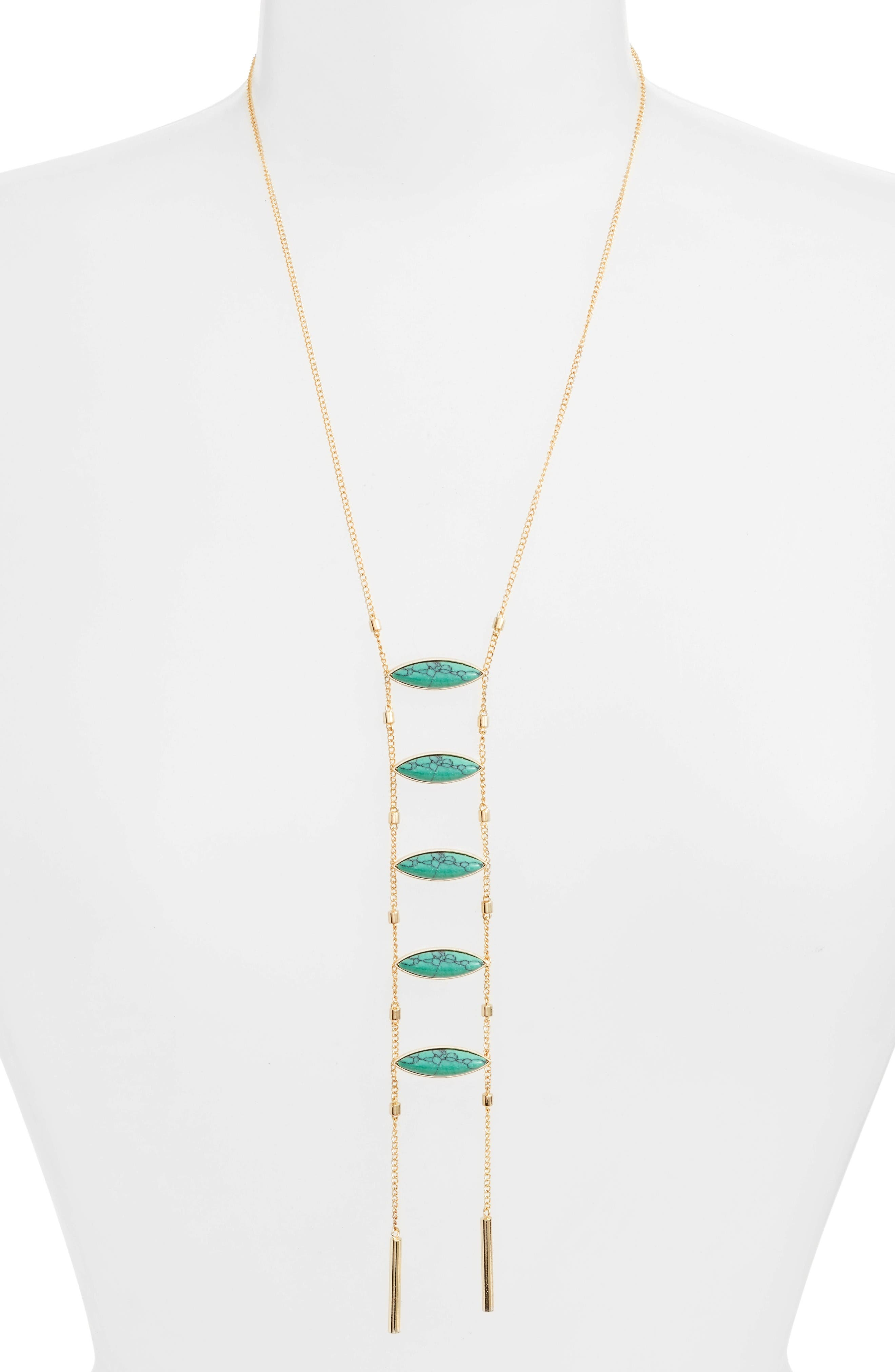Camila Necklace,                         Main,                         color, Gold / Turquoise