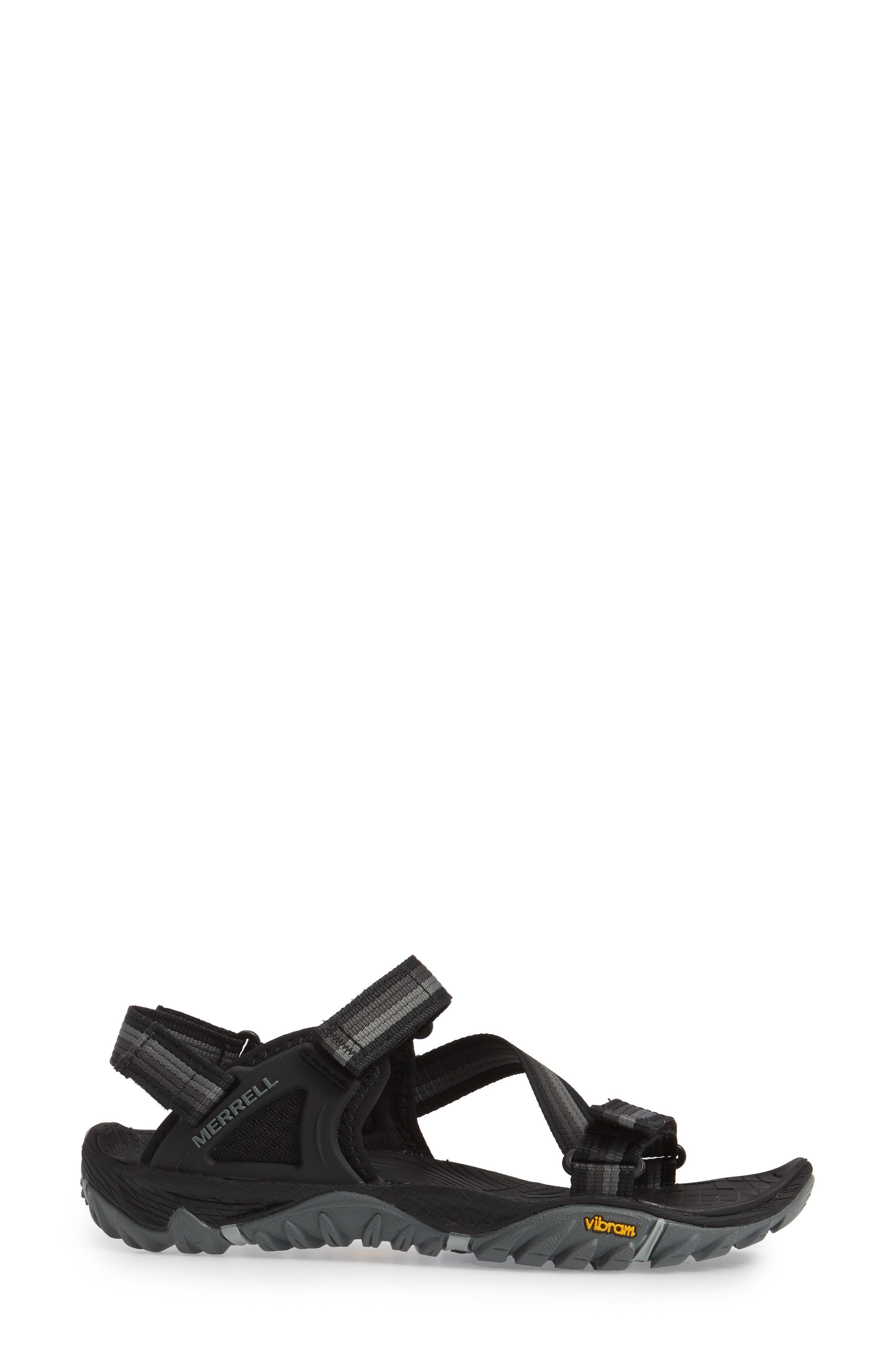 All Out Blaze Sport Sandal,                             Alternate thumbnail 3, color,                             Black Fabric