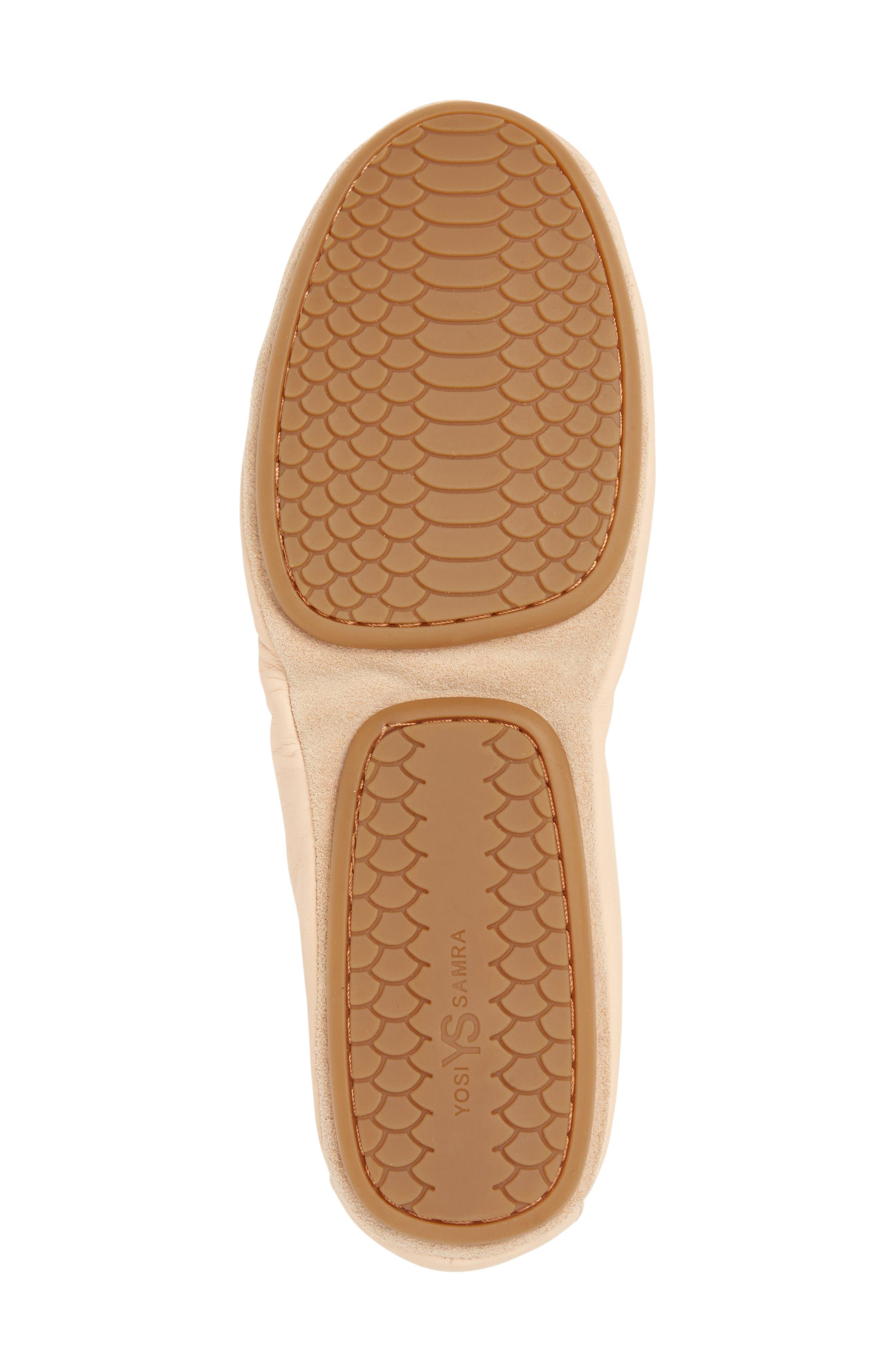 Samara Foldable Ballet Flat,                             Alternate thumbnail 6, color,                             Nude Leather