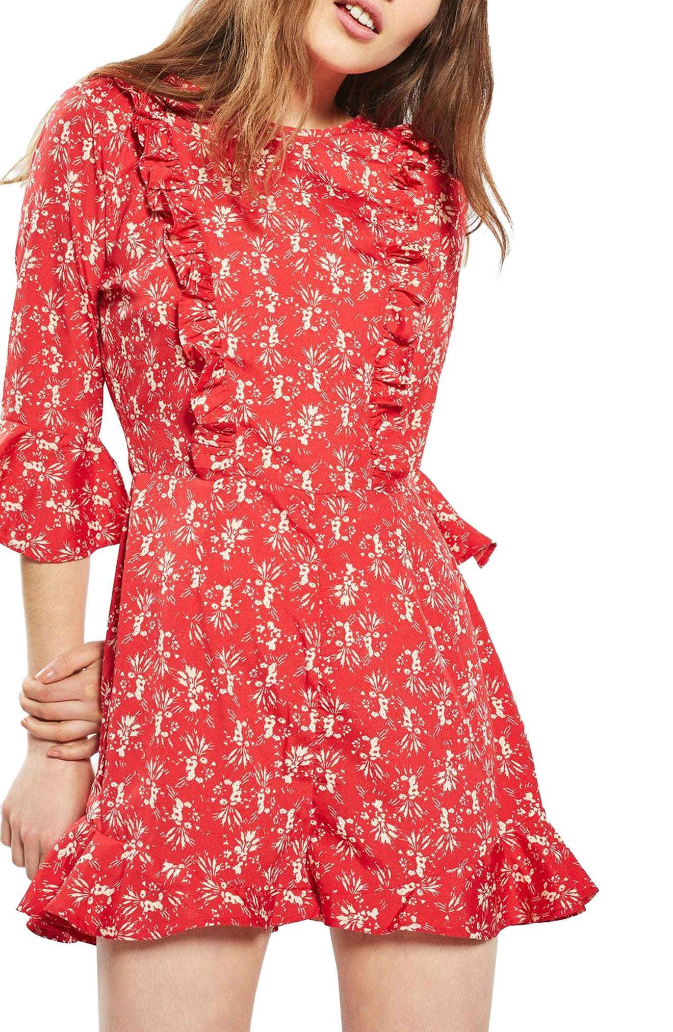 Alternate Image 1 Selected - Topshop Floral Ruffle Romper