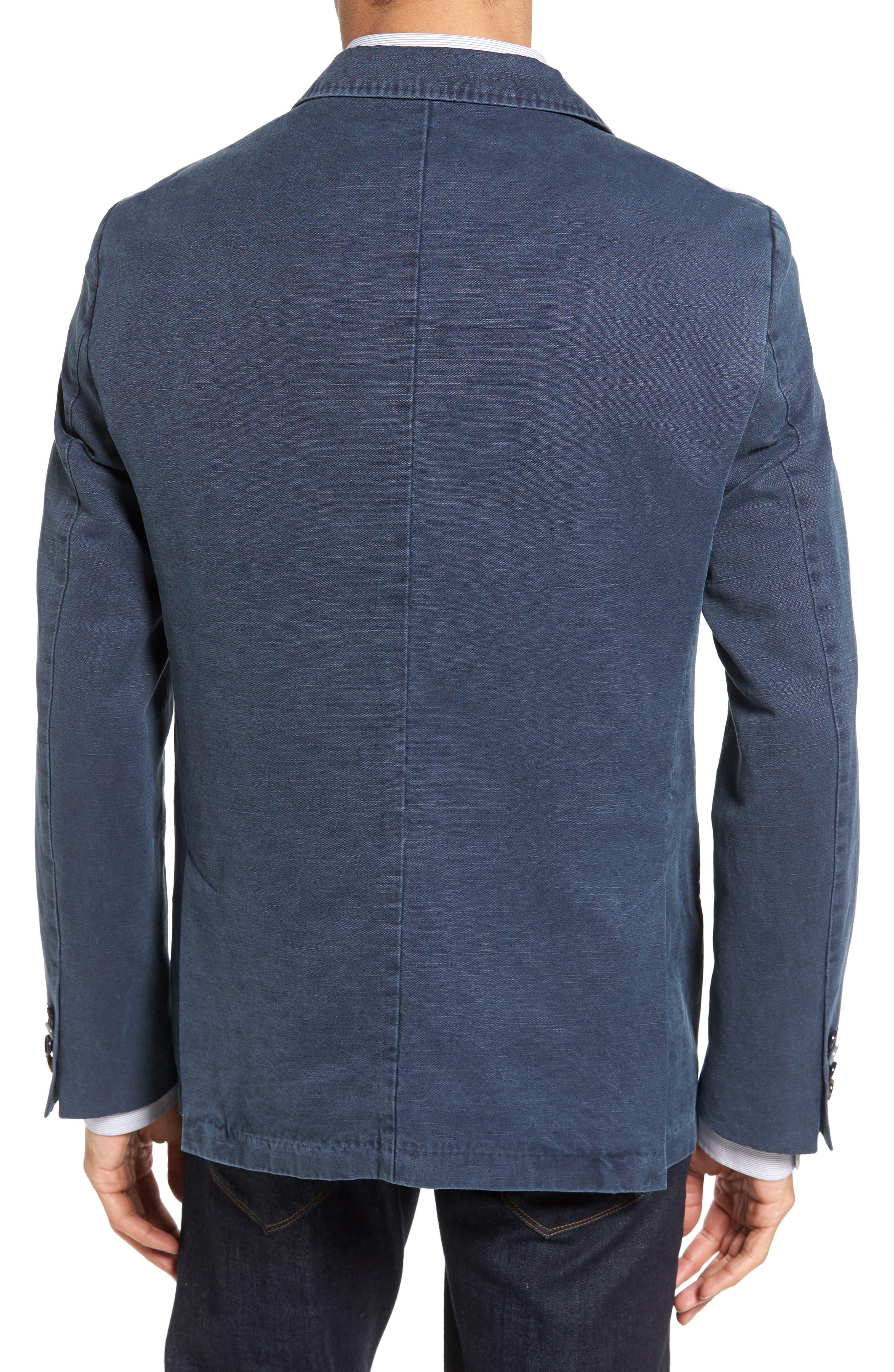 Trim Fit Cotton & Linen Blazer,                             Alternate thumbnail 2, color,                             Navy