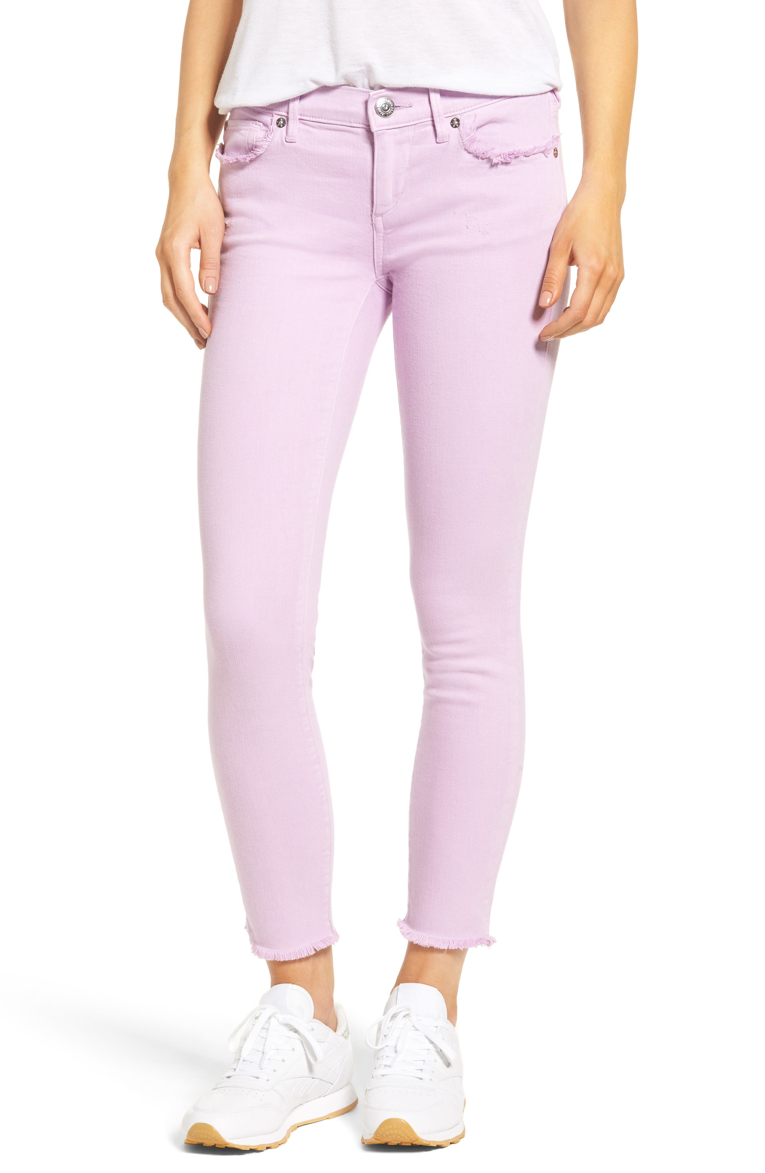Casey Crop Fray Jeans,                         Main,                         color, Wisteria