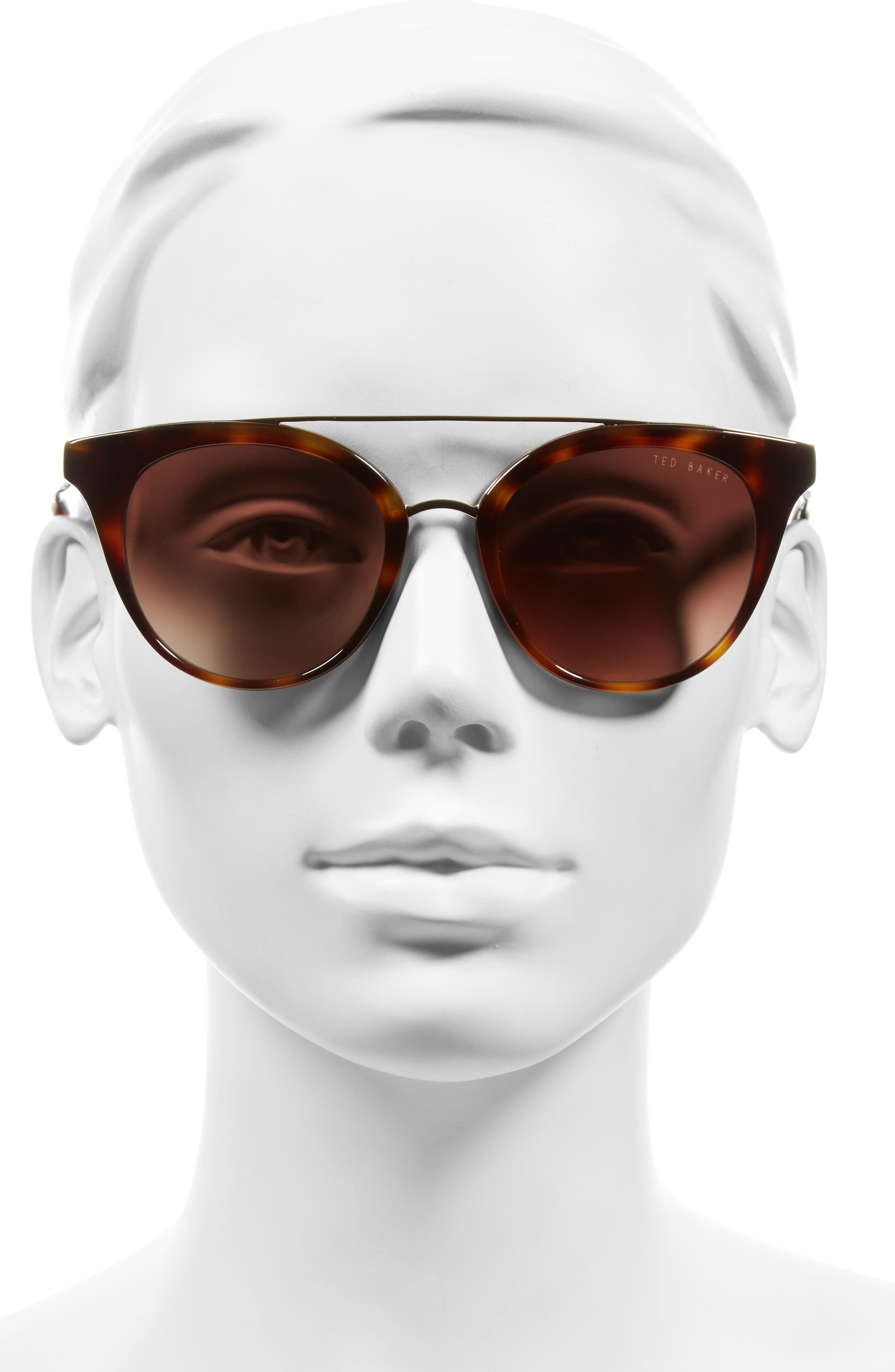 51mm Gradient Lens Round Retro Sunglasses,                             Alternate thumbnail 2, color,                             Tortoise