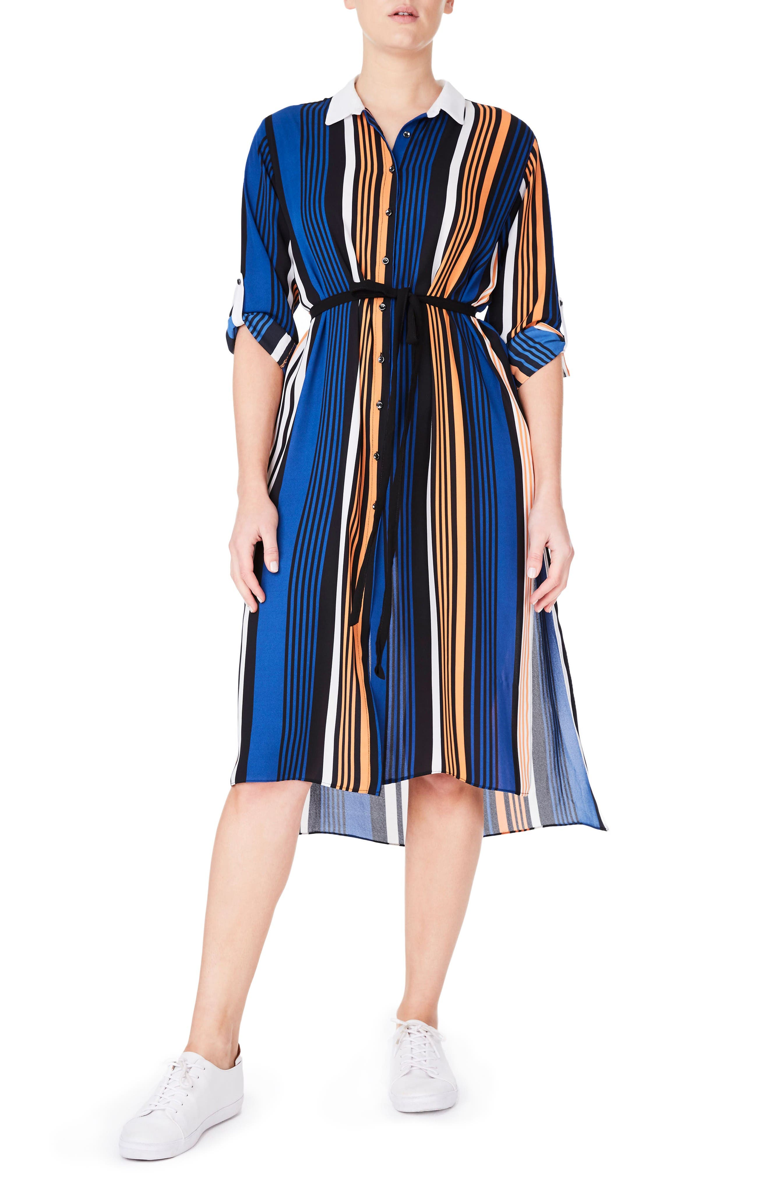 ELVI Stripe Roll Sleeve Shirtdress (Plus Size)