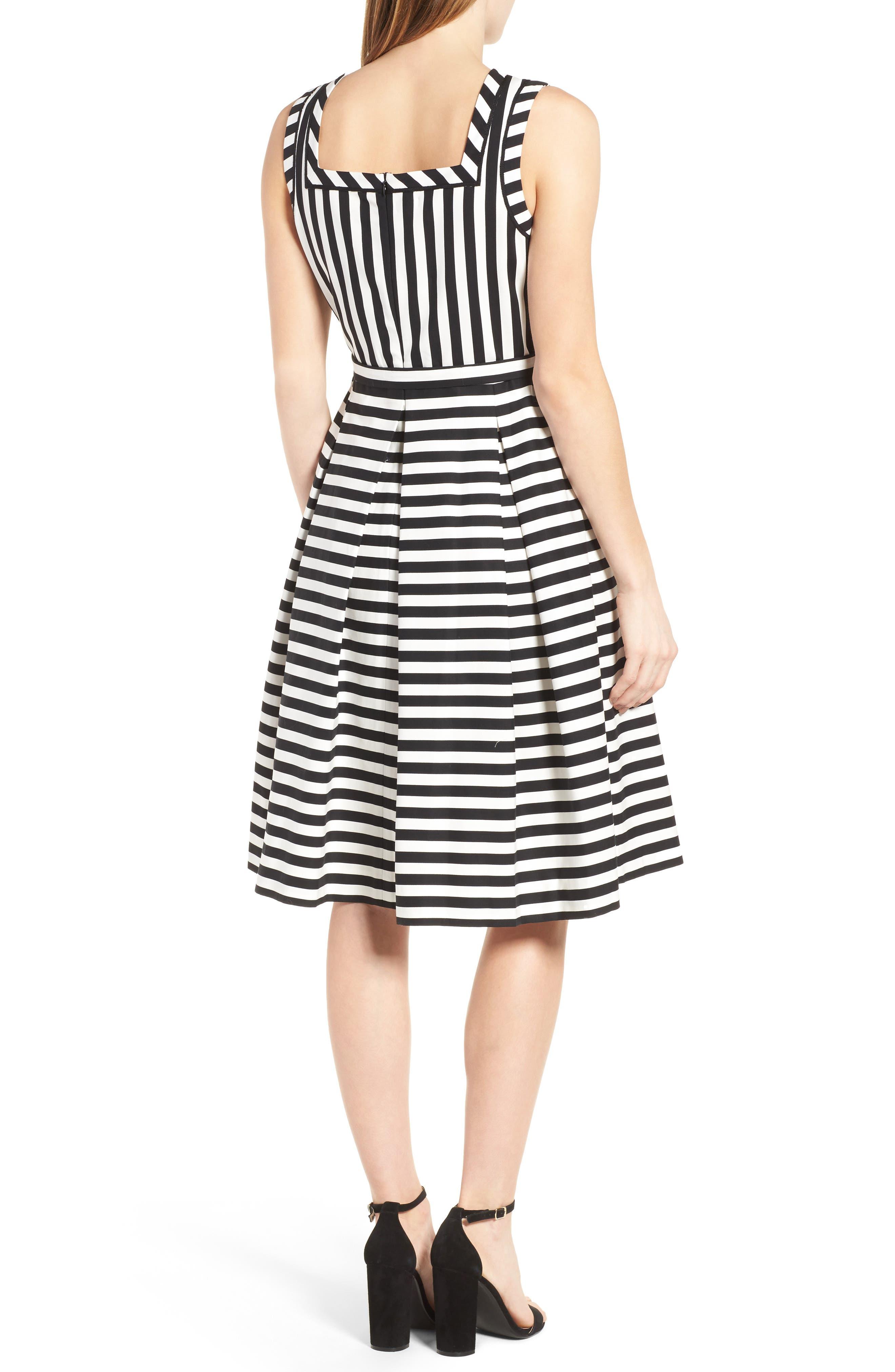 Stripe Fit & Flare Dress,                             Alternate thumbnail 2, color,                             Black Multi/ Black
