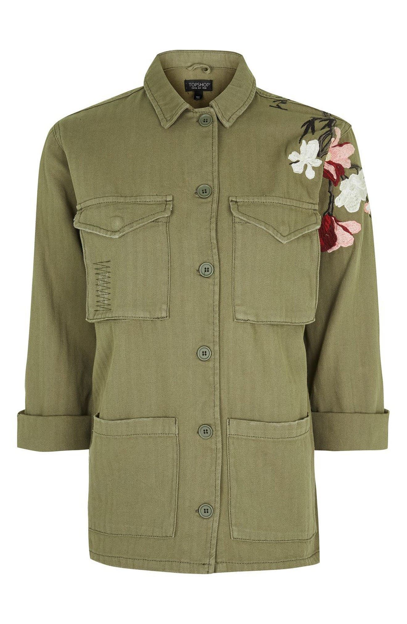 Embroidered Army Shirt Jacket,                             Alternate thumbnail 4, color,                             Olive
