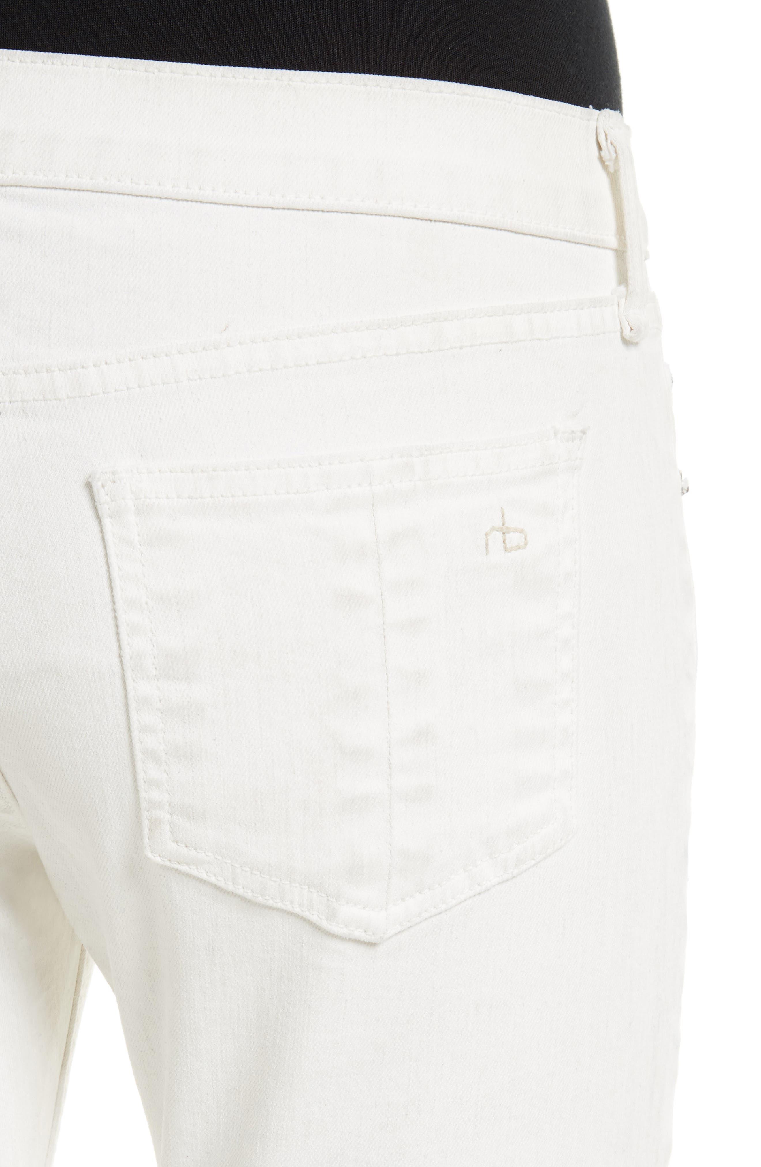 Alternate Image 4  - rag & bone/JEAN Capri Skinny Jeans (Blanc with Fray)