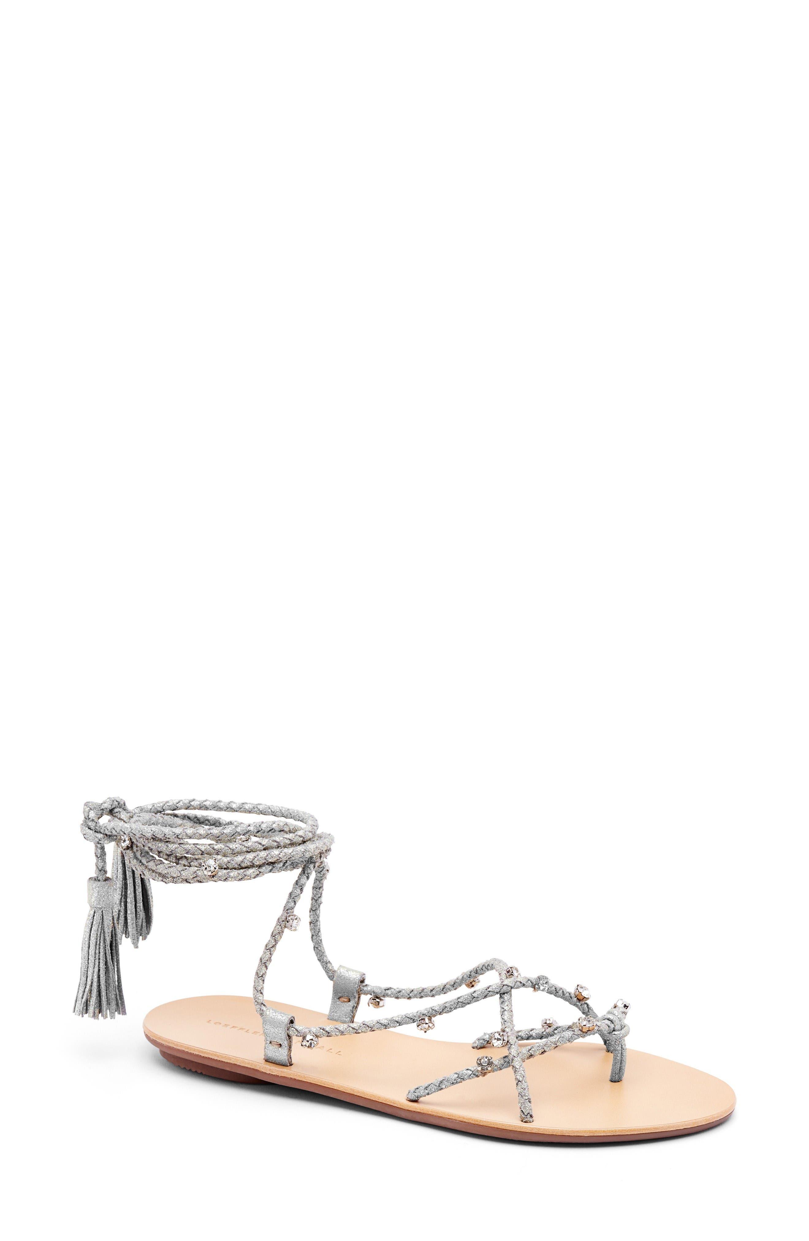 Bo Ankle Wrap Sandal,                         Main,                         color, Silver
