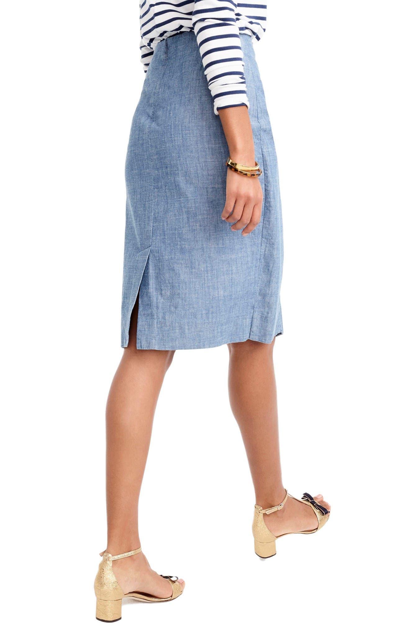 Chambray Ruffle Skirt,                             Alternate thumbnail 2, color,                             Pale Indigo